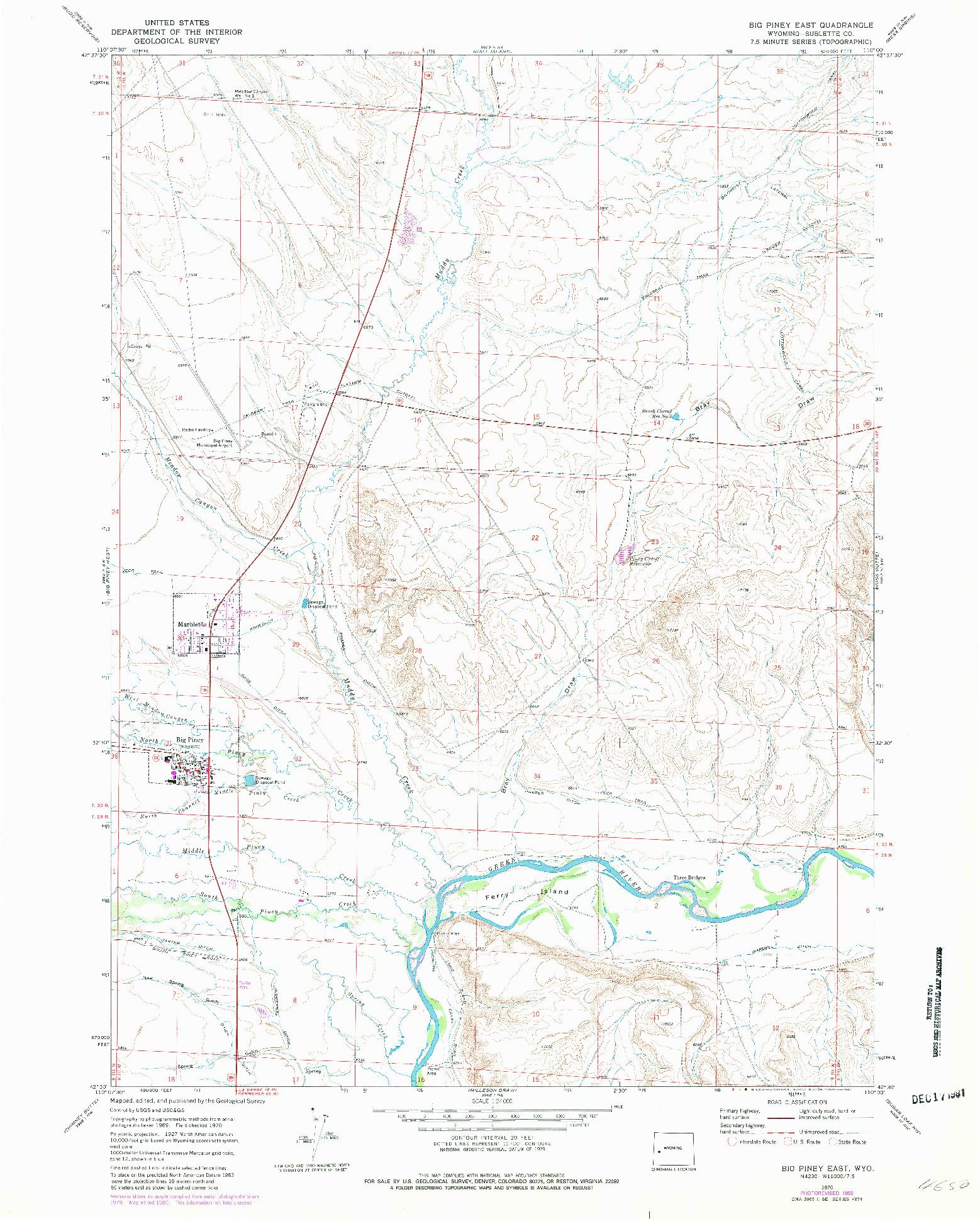 USGS 1:24000-SCALE QUADRANGLE FOR BIG PINEY EAST, WY 1970