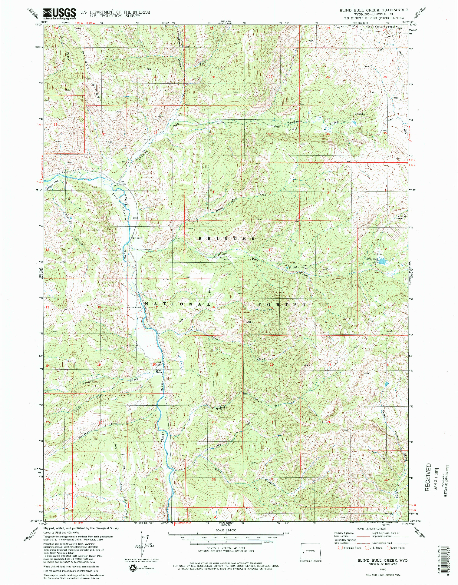 USGS 1:24000-SCALE QUADRANGLE FOR BLIND BULL CREEK, WY 1980