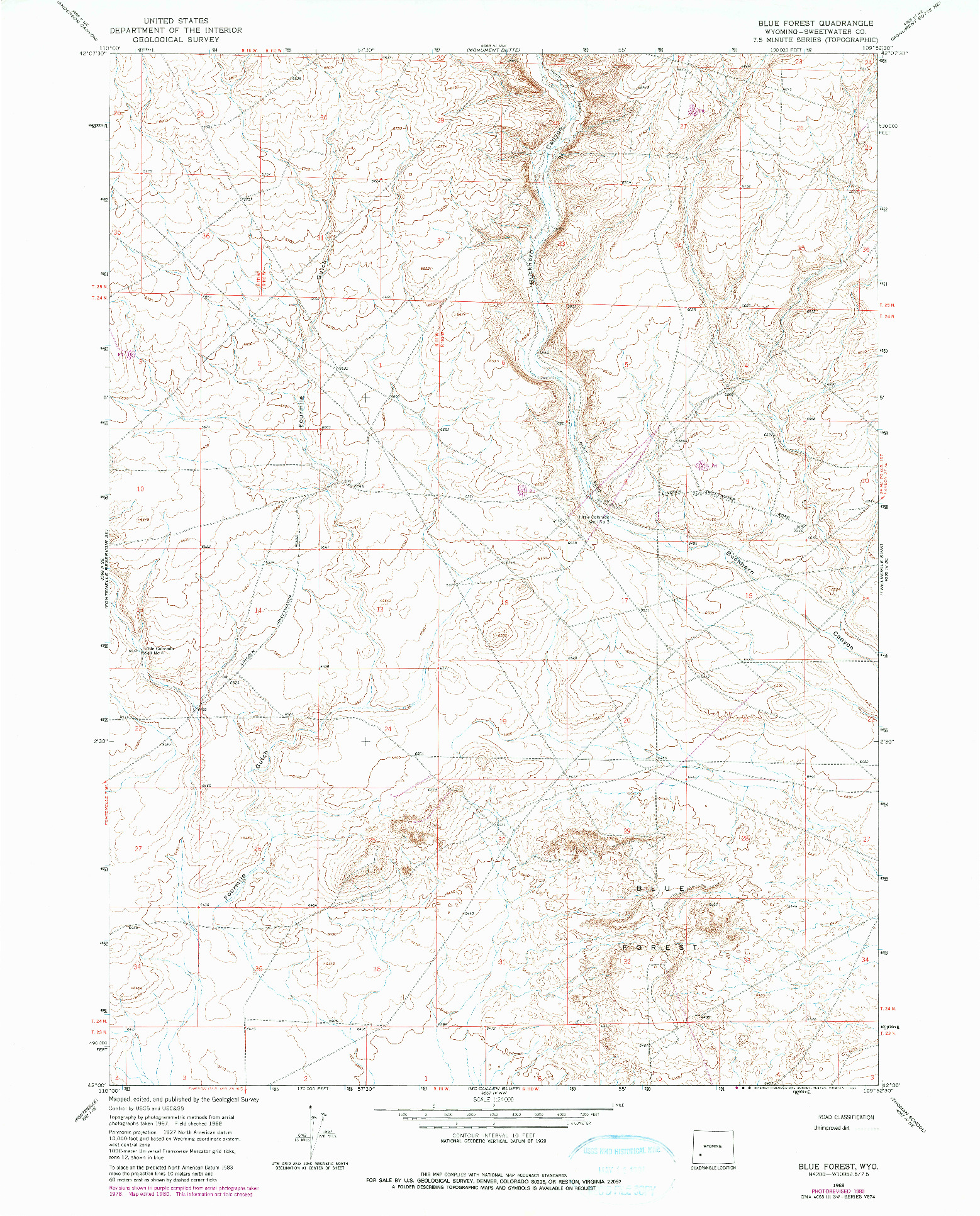 USGS 1:24000-SCALE QUADRANGLE FOR BLUE FOREST, WY 1968