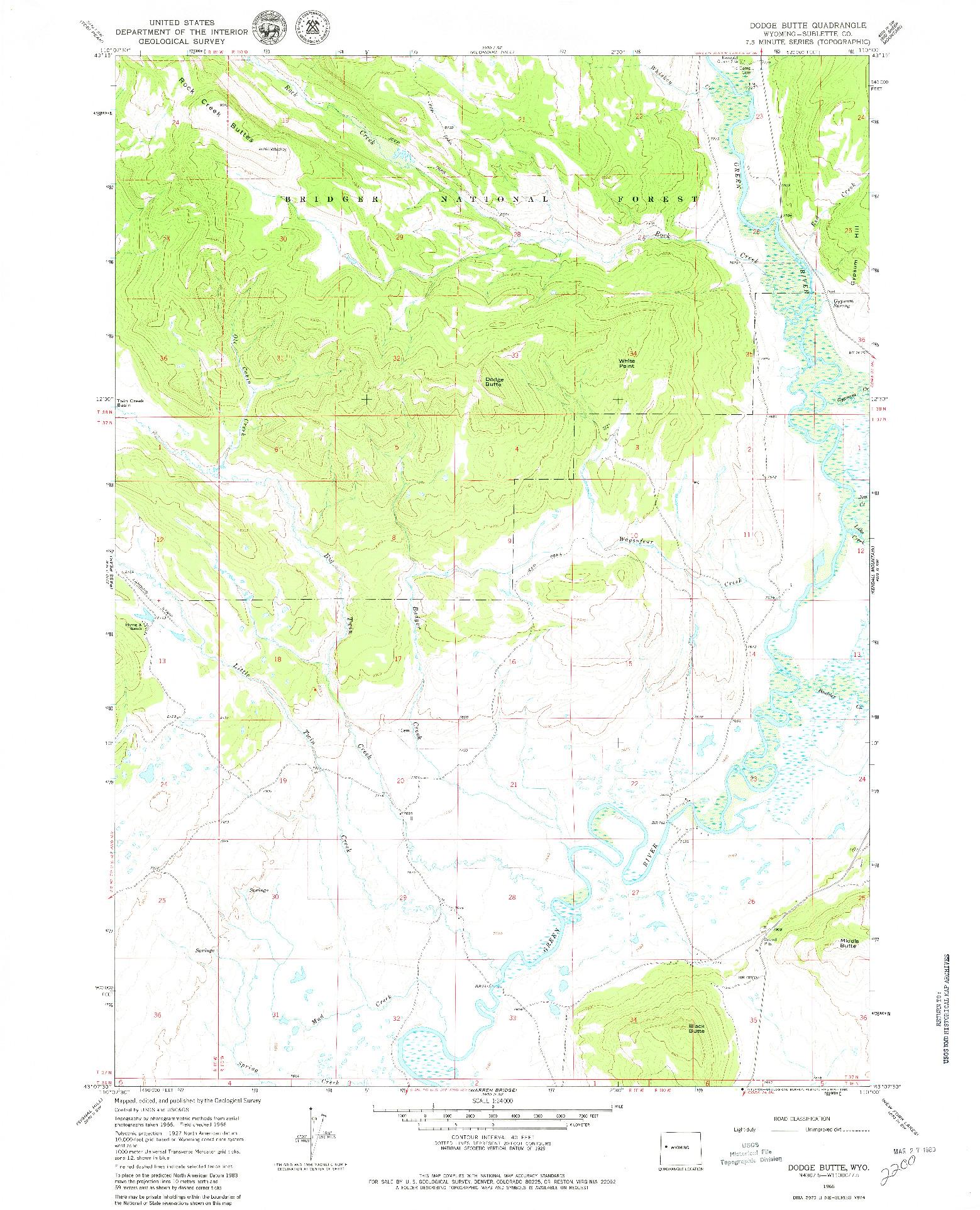 USGS 1:24000-SCALE QUADRANGLE FOR DODGE BUTTE, WY 1966