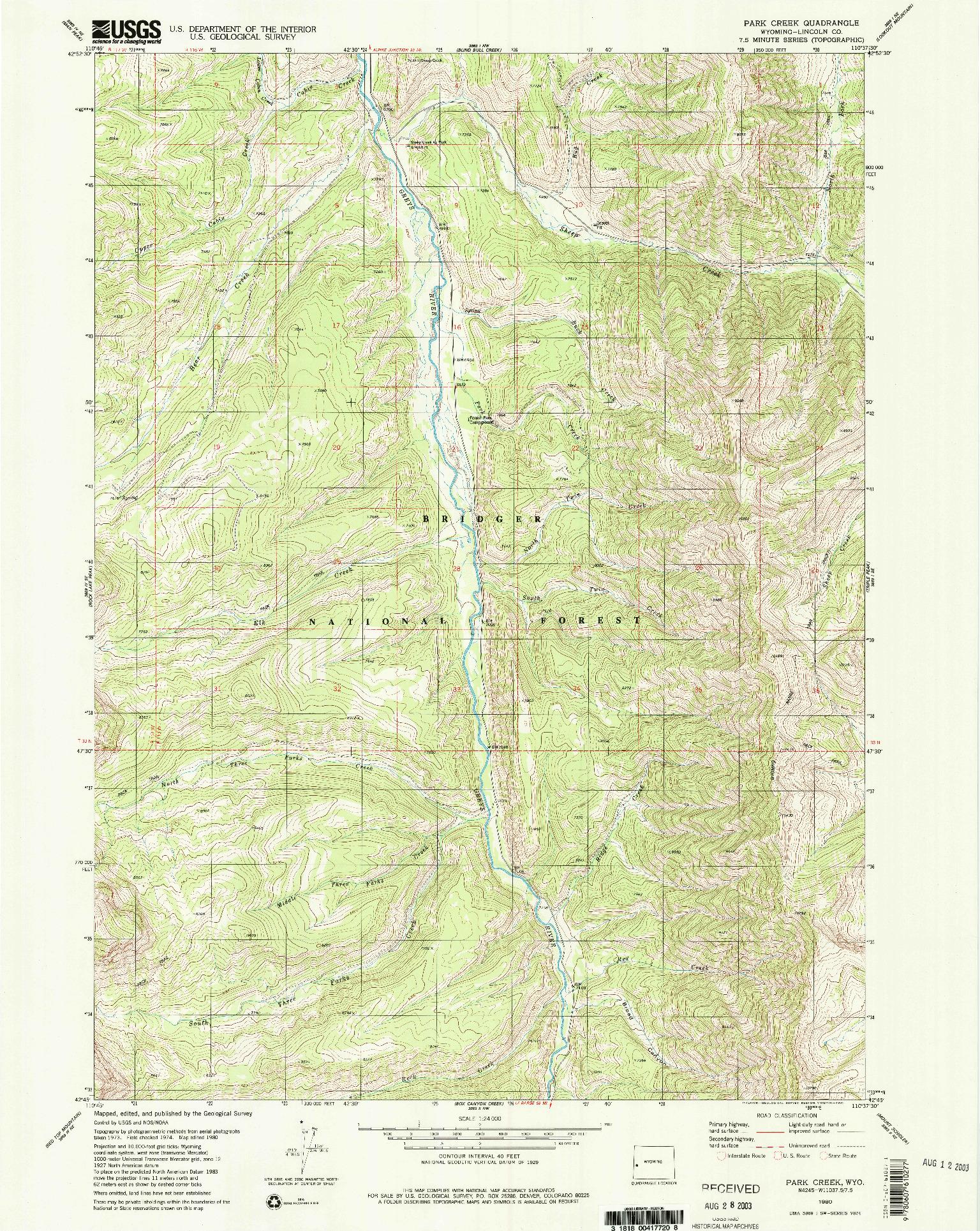 USGS 1:24000-SCALE QUADRANGLE FOR PARK CREEK, WY 1980
