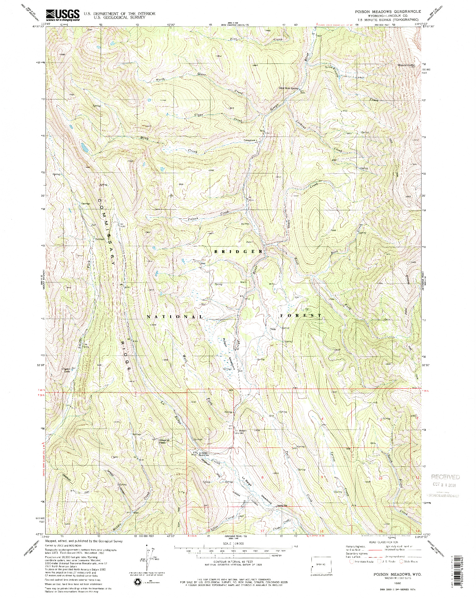 USGS 1:24000-SCALE QUADRANGLE FOR POISON MEADOWS, WY 1980