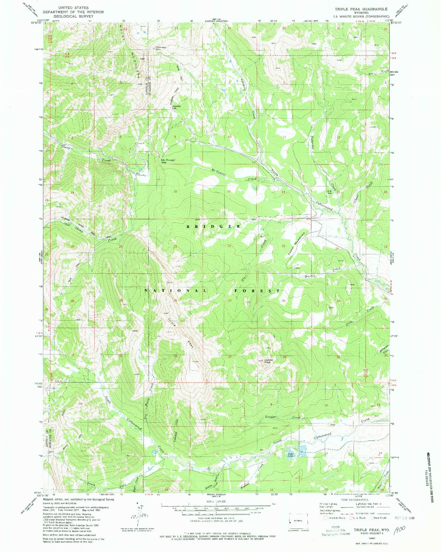 USGS 1:24000-SCALE QUADRANGLE FOR TRIPLE PEAK, WY 1980