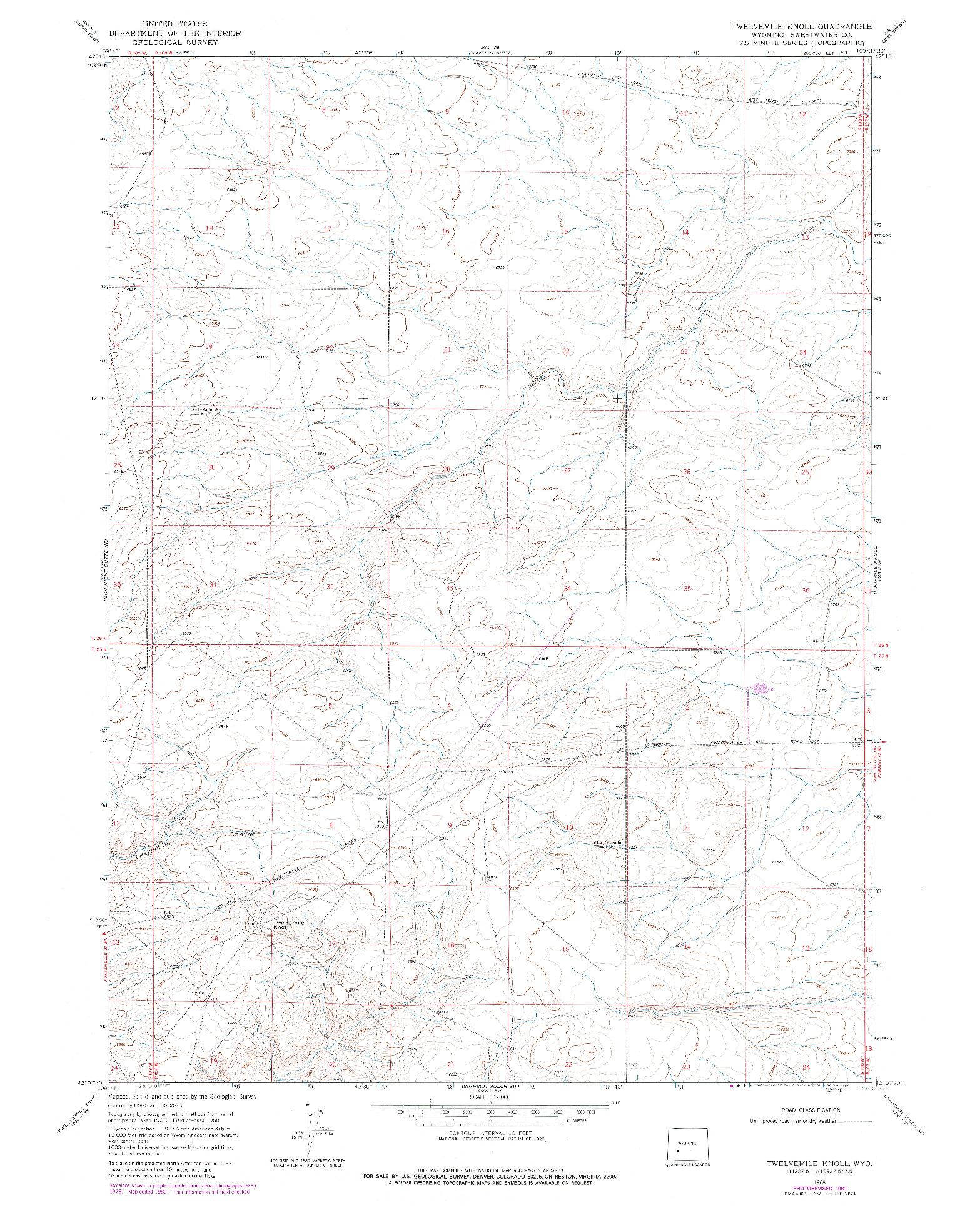USGS 1:24000-SCALE QUADRANGLE FOR TWELVEMILE KNOLL, WY 1968