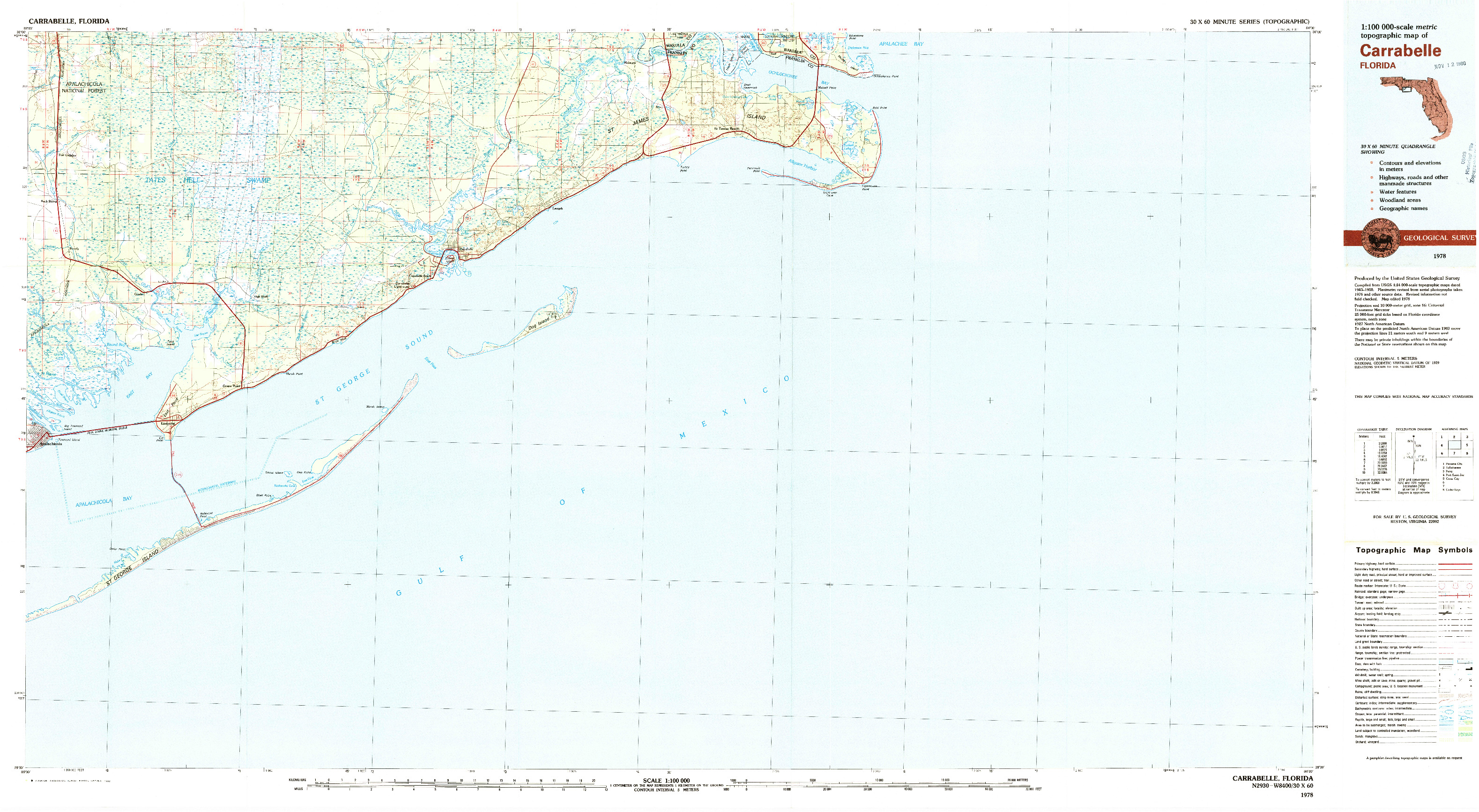USGS 1:100000-SCALE QUADRANGLE FOR CARRABELLE, FL 1978