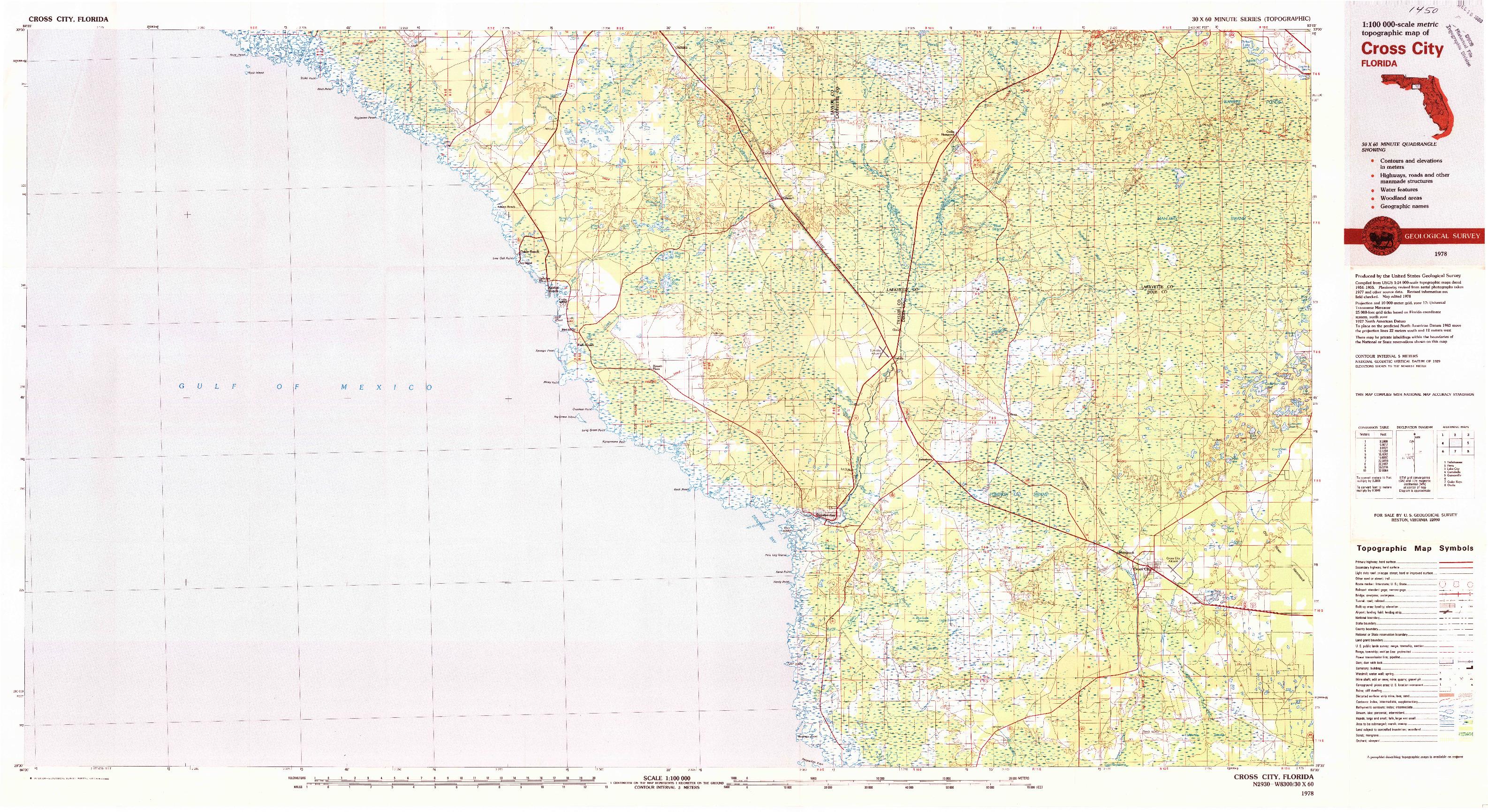 USGS 1:100000-SCALE QUADRANGLE FOR CROSS CITY, FL 1978