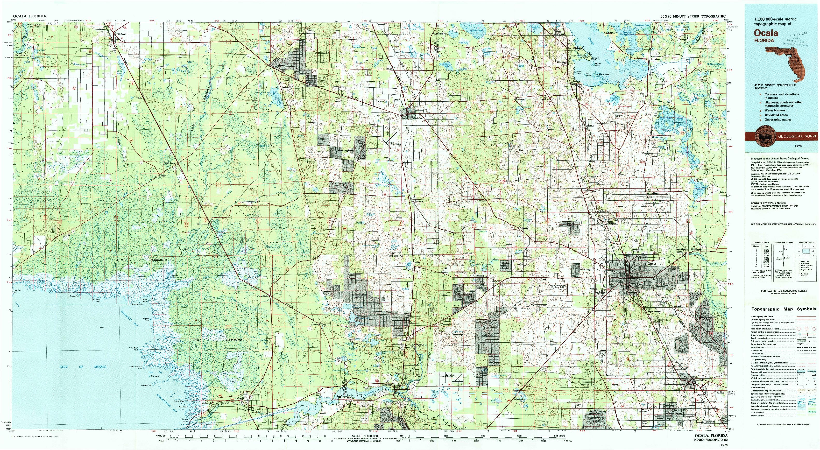USGS 1:100000-SCALE QUADRANGLE FOR OCALA, FL 1978