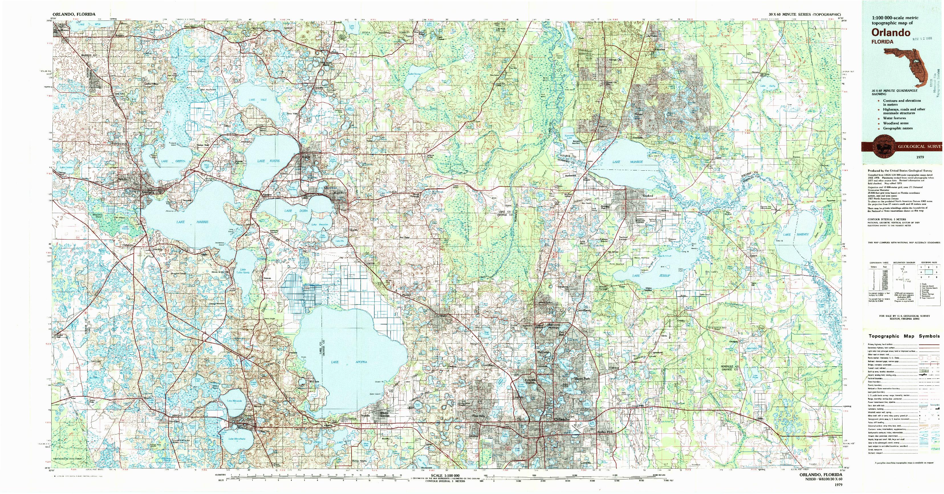 USGS 1:100000-SCALE QUADRANGLE FOR ORLANDO, FL 1979