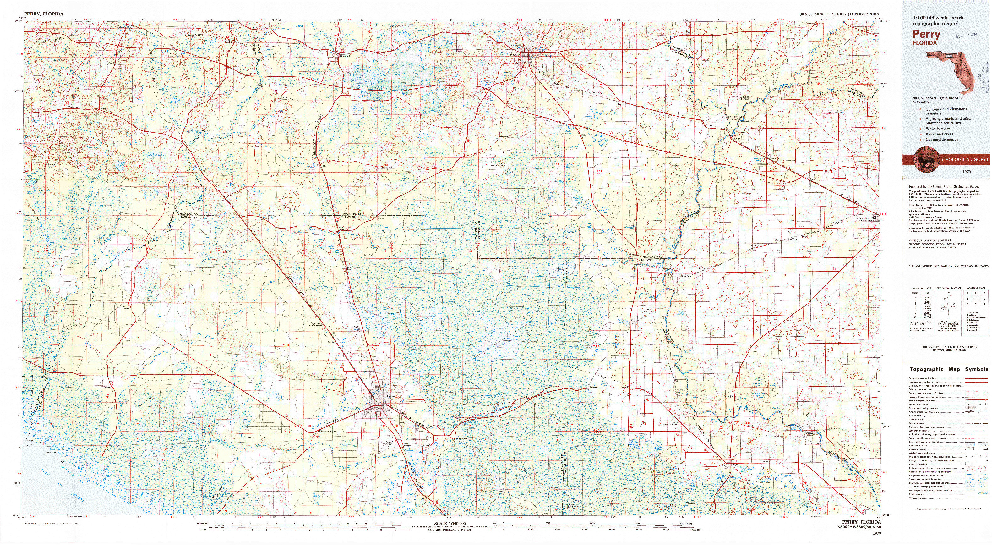 USGS 1:100000-SCALE QUADRANGLE FOR PERRY, FL 1979