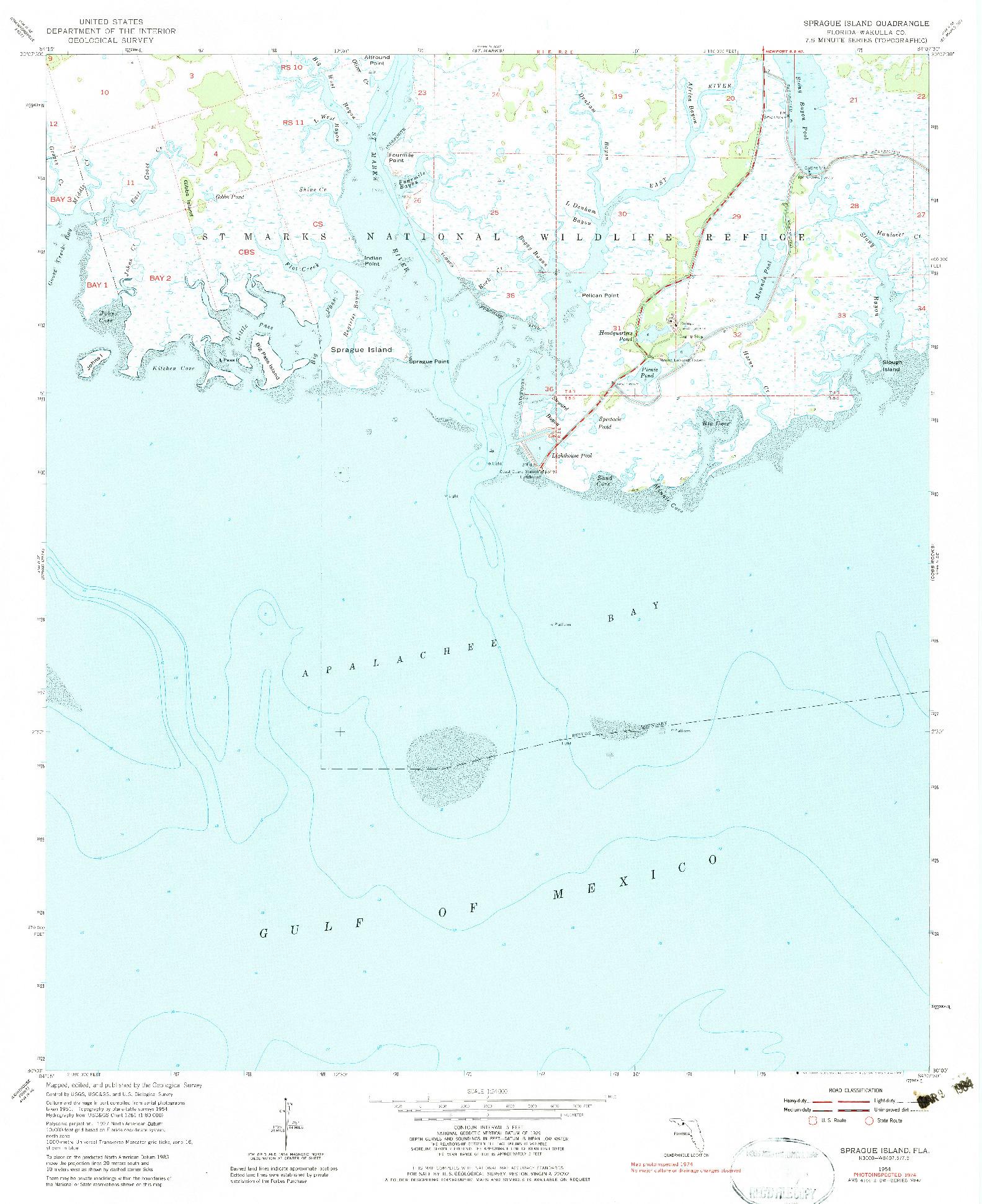 USGS 1:24000-SCALE QUADRANGLE FOR SPRAGUE ISLAND, FL 1954