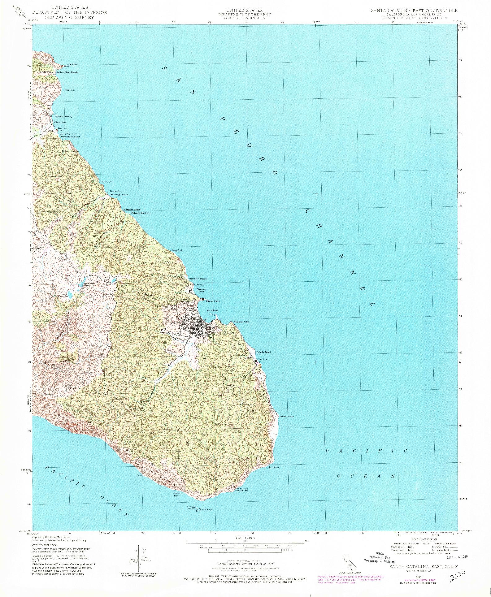 USGS 1:24000-SCALE QUADRANGLE FOR SANTA CATALINA EAST, CA 1943