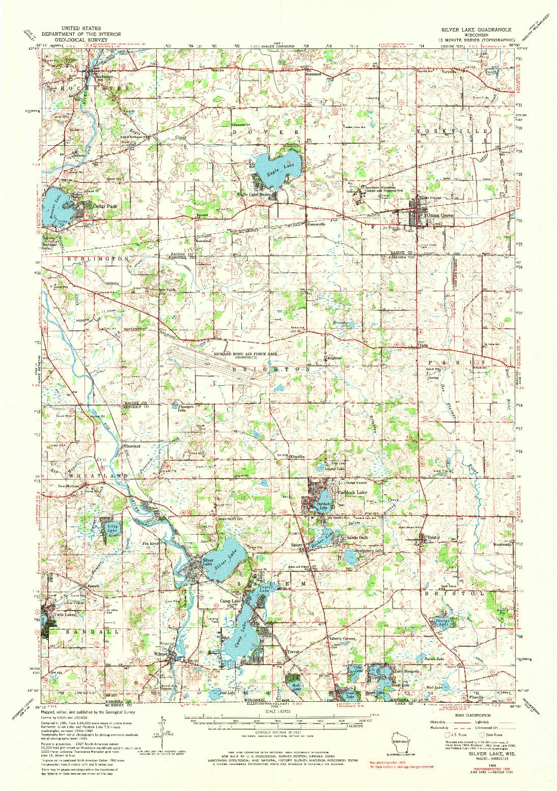 USGS 1:62500-SCALE QUADRANGLE FOR SILVER LAKE, WI 1960