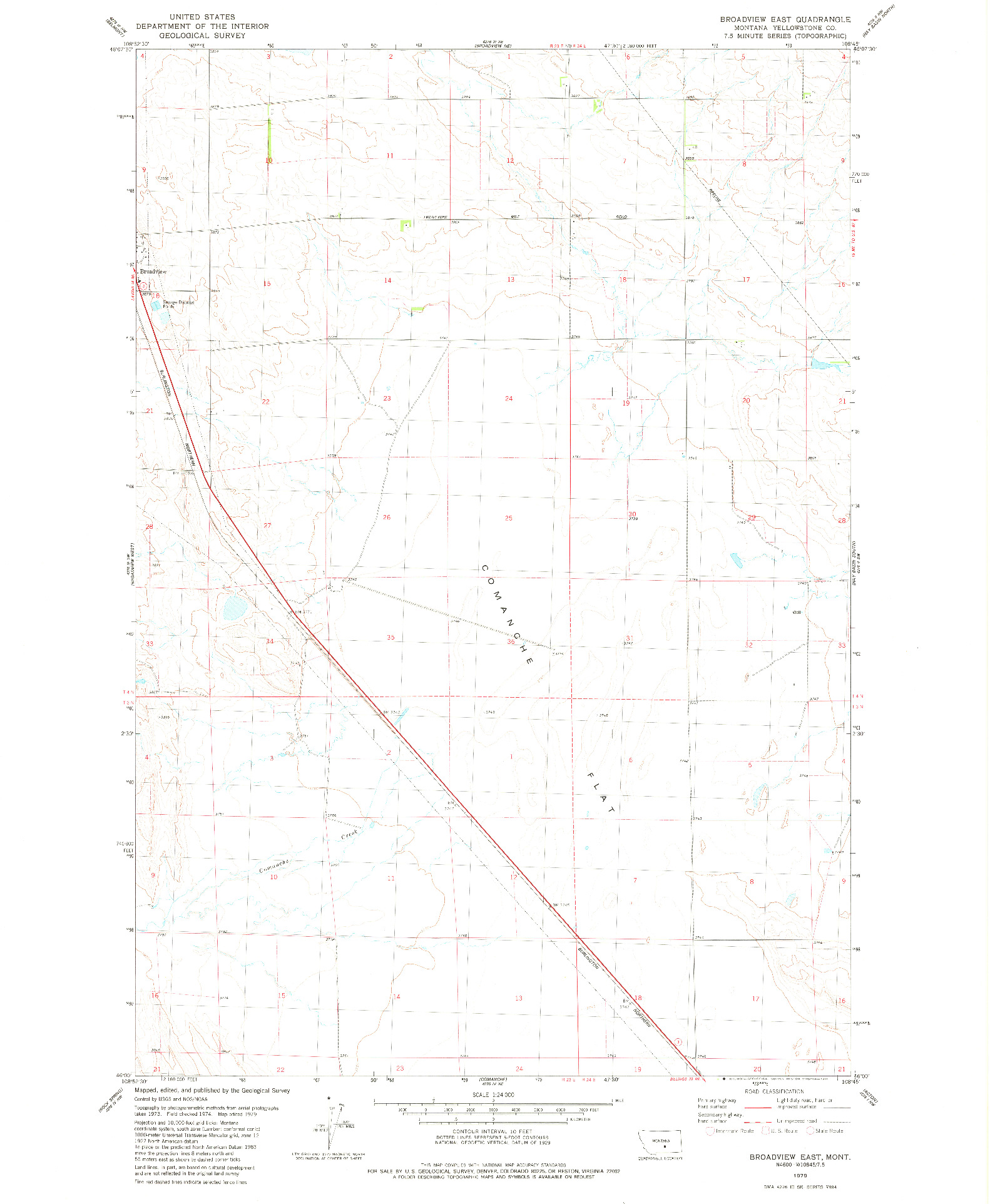 USGS 1:24000-SCALE QUADRANGLE FOR BROADVIEW EAST, MT 1979