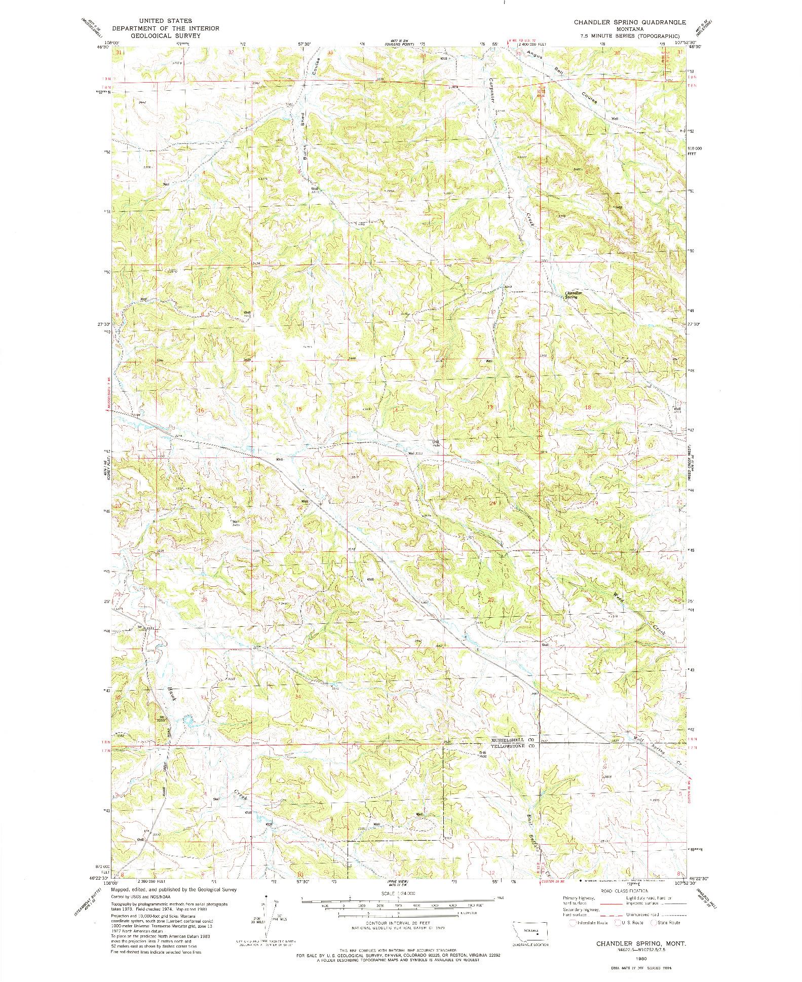USGS 1:24000-SCALE QUADRANGLE FOR CHANDLER SPRING, MT 1980