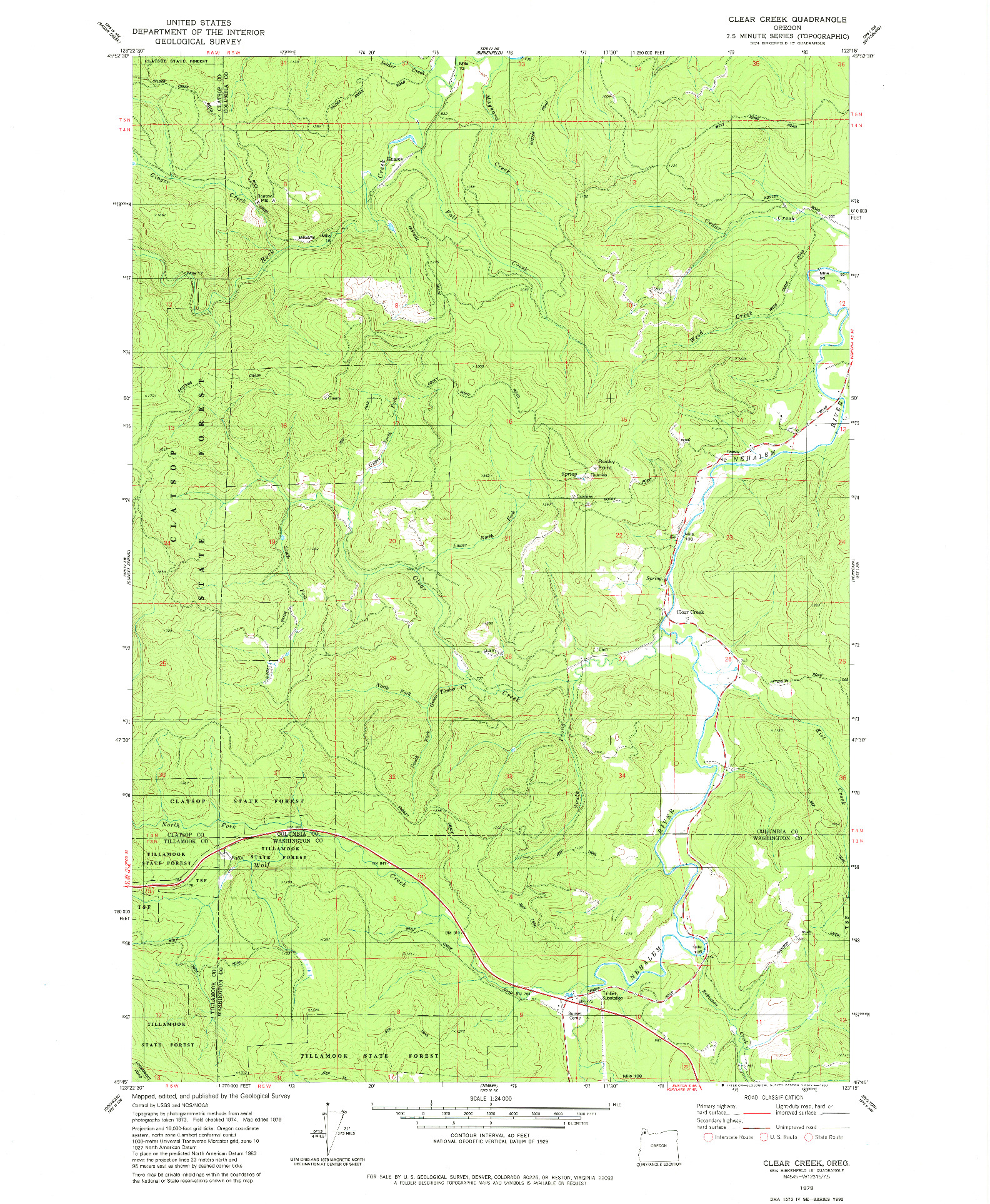 USGS 1:24000-SCALE QUADRANGLE FOR CLEAR CREEK, OR 1979
