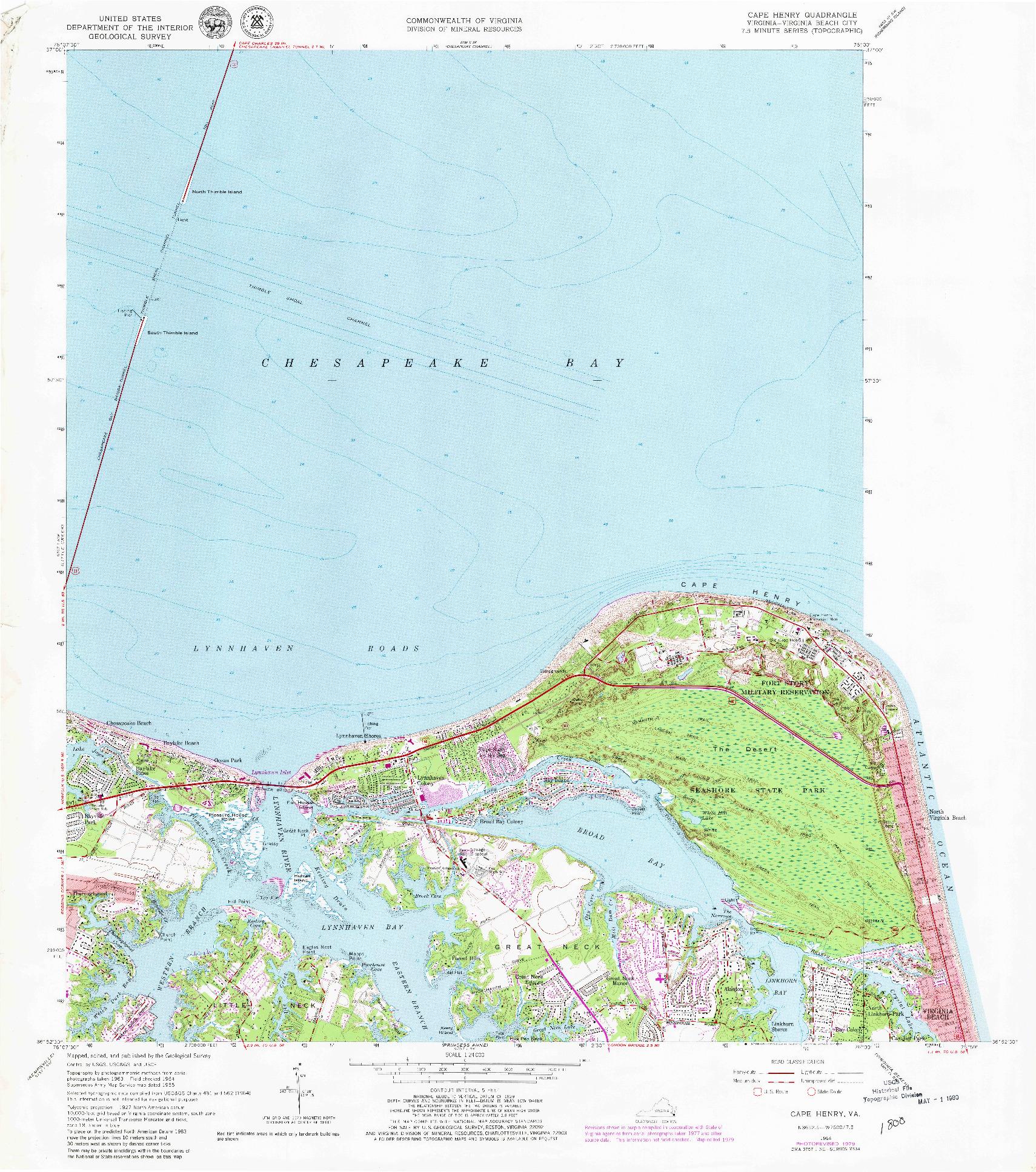 USGS 1:24000-SCALE QUADRANGLE FOR CAPE HENRY, VA 1964
