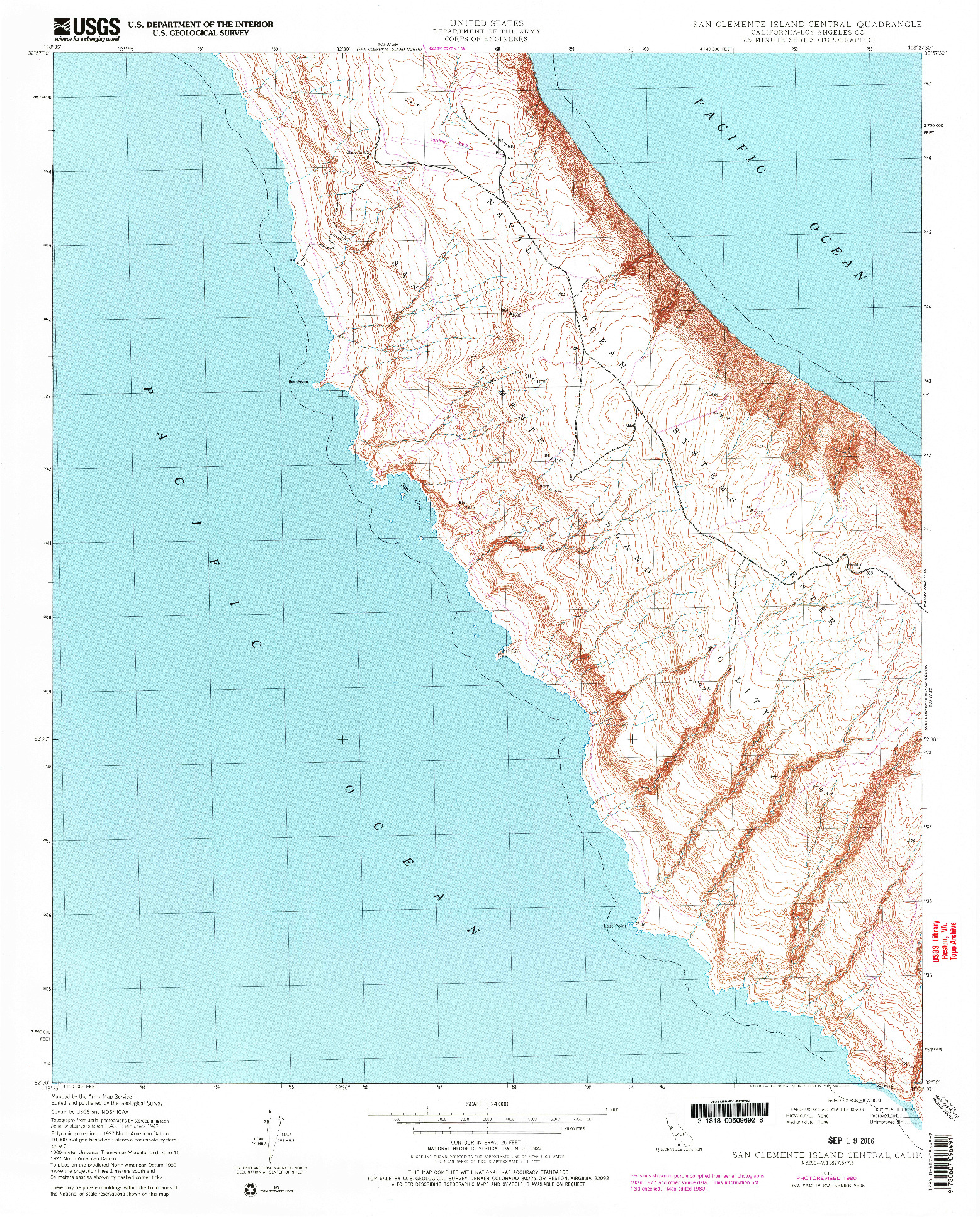 USGS 1:24000-SCALE QUADRANGLE FOR SAN CLEMENTE ISLAND CENTRAL, CA 1943