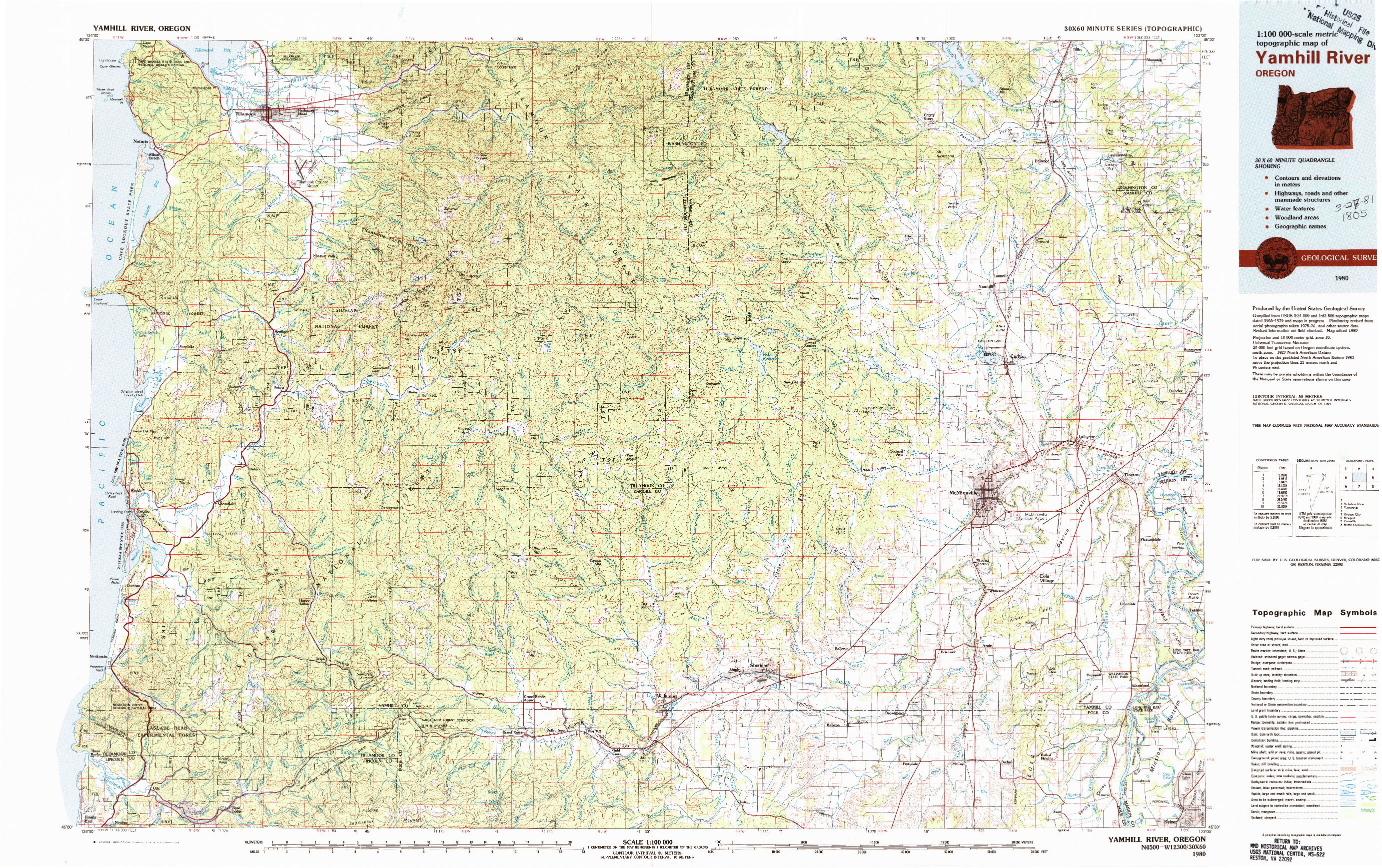 USGS 1:100000-SCALE QUADRANGLE FOR YAMHILL RIVER, OR 1980