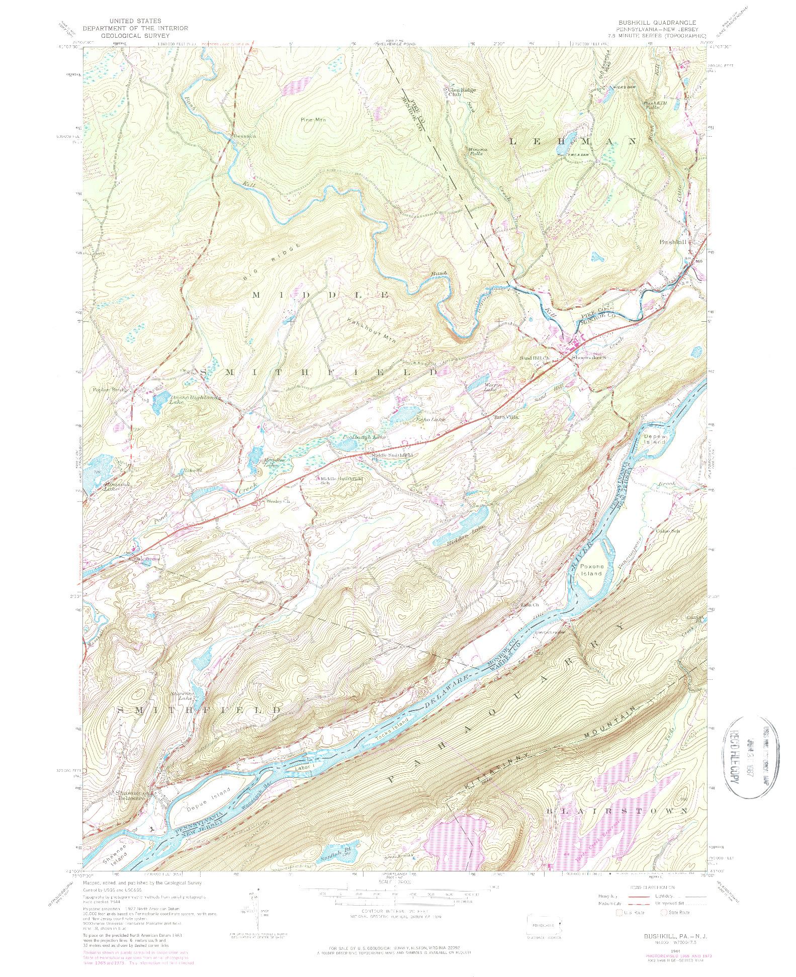 USGS 1:24000-SCALE QUADRANGLE FOR BUSHKILL, PA 1944