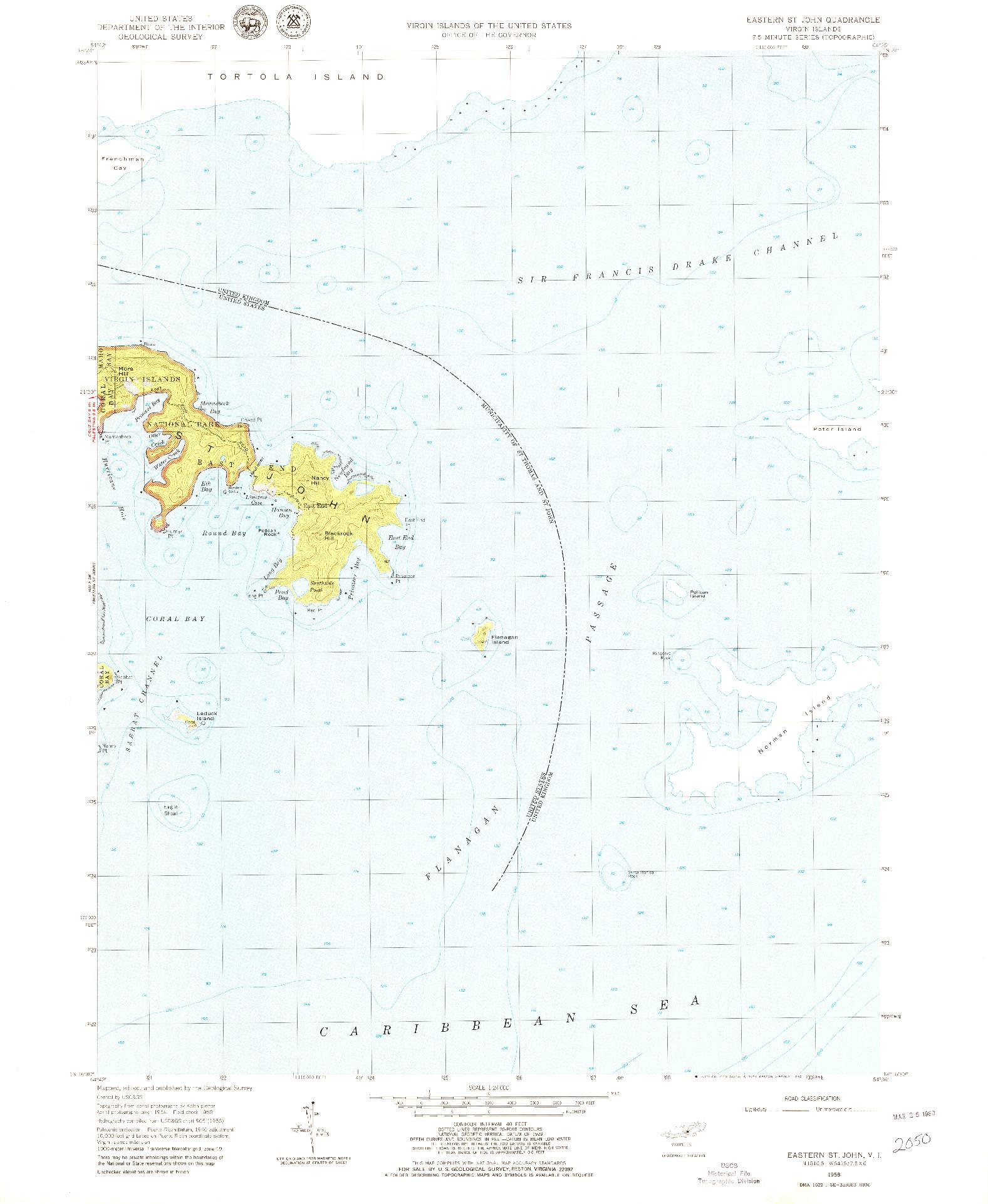 USGS 1:24000-SCALE QUADRANGLE FOR EASTERN ST. JOHN, VI 1958
