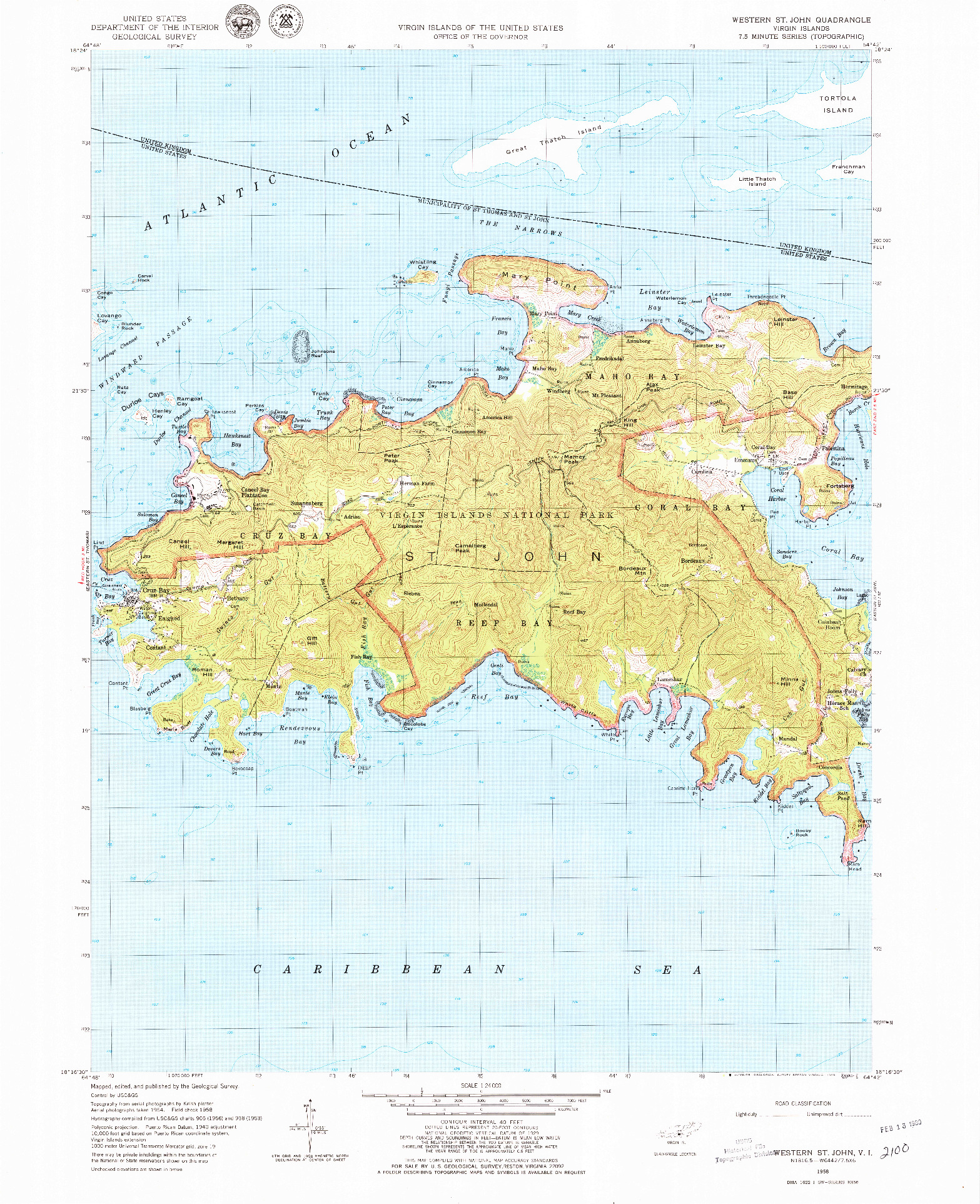 USGS 1:24000-SCALE QUADRANGLE FOR WESTERN ST. JOHN, VI 1958