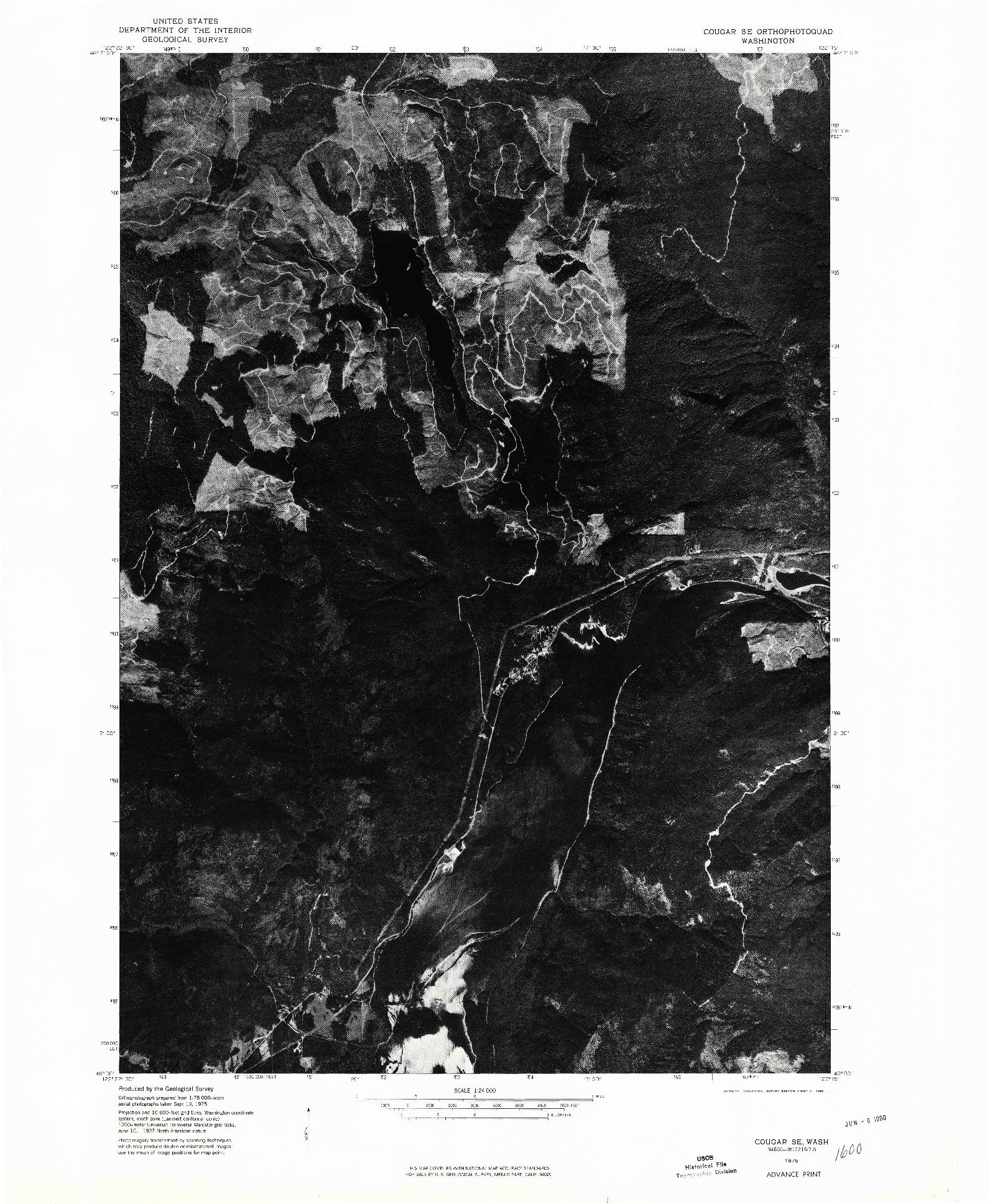 USGS 1:24000-SCALE QUADRANGLE FOR COUGAR SE, WA 1975