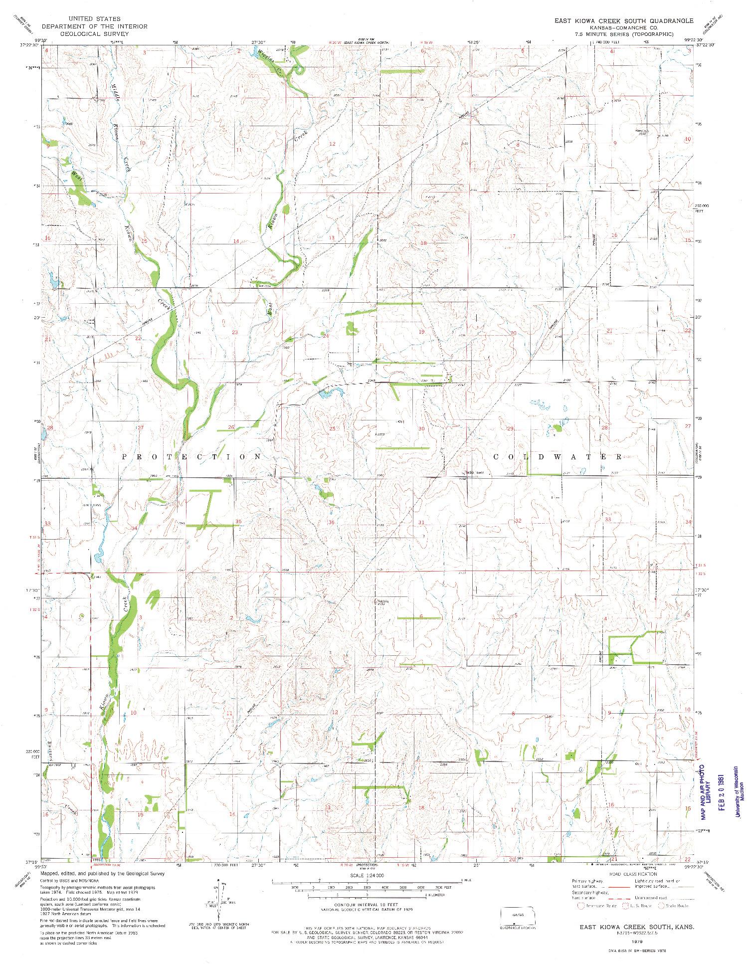 USGS 1:24000-SCALE QUADRANGLE FOR EAST KIOWA CREEK SOUTH, KS 1979