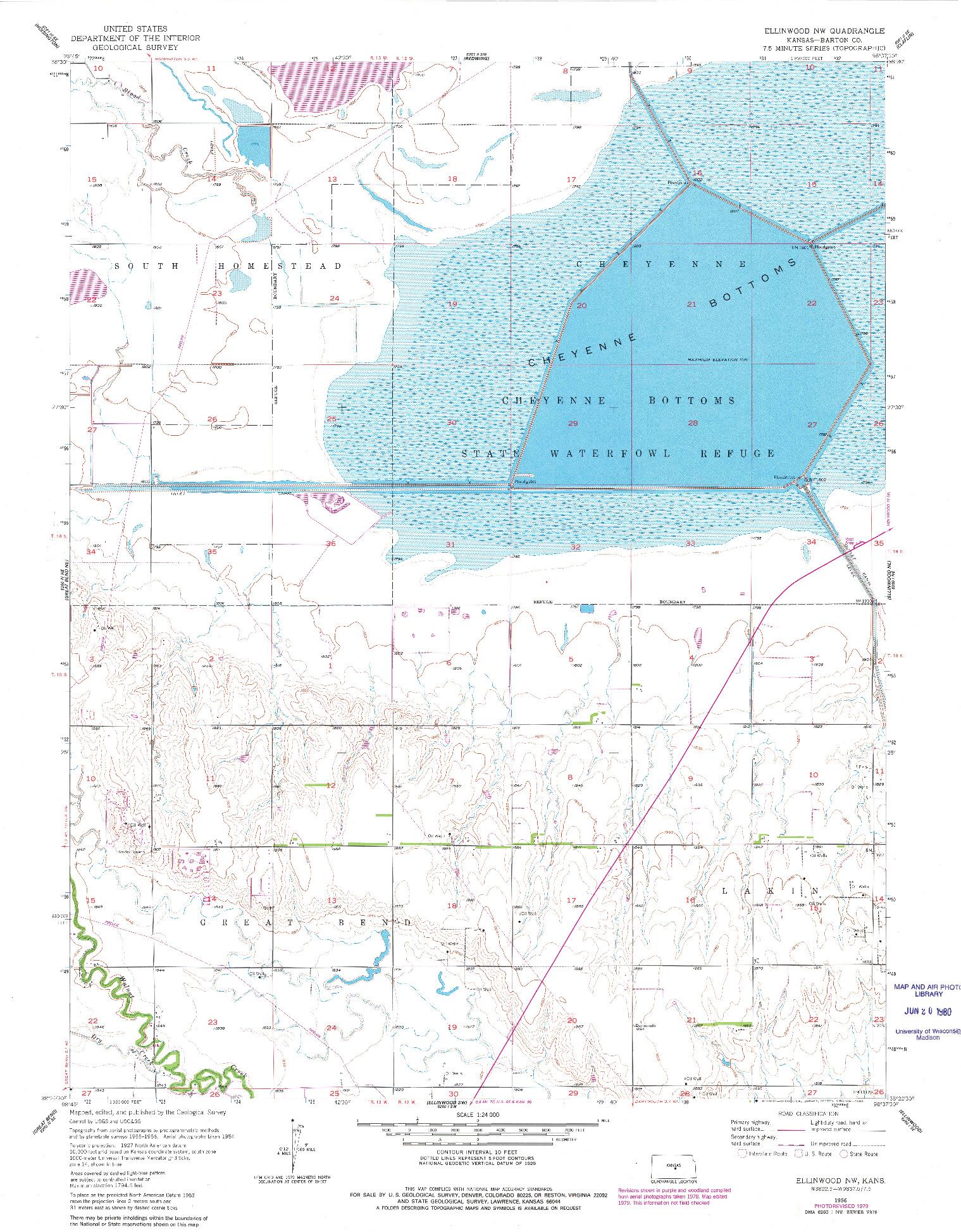 USGS 1:24000-SCALE QUADRANGLE FOR ELLINWOOD NW, KS 1956