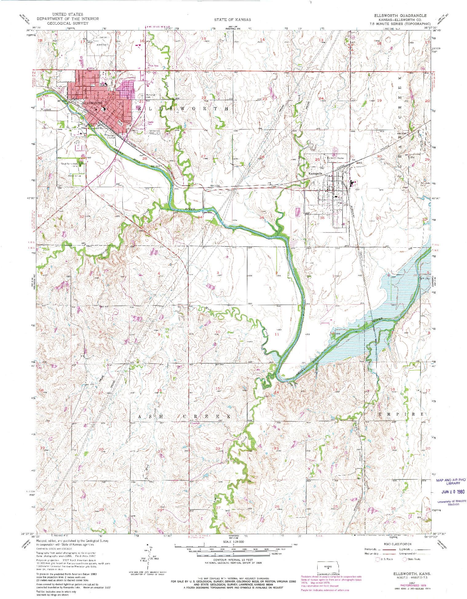 USGS 1:24000-SCALE QUADRANGLE FOR ELLSWORTH, KS 1957