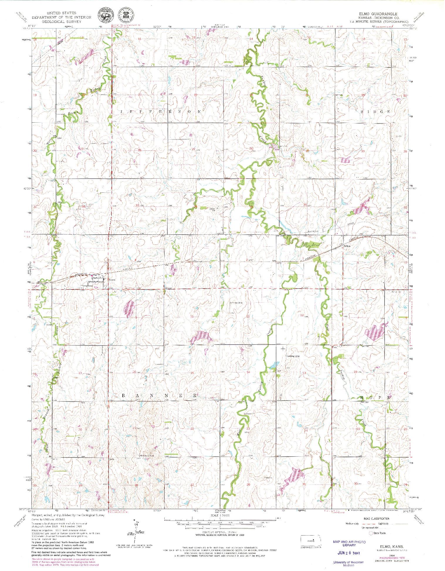 USGS 1:24000-SCALE QUADRANGLE FOR ELMO, KS 1964