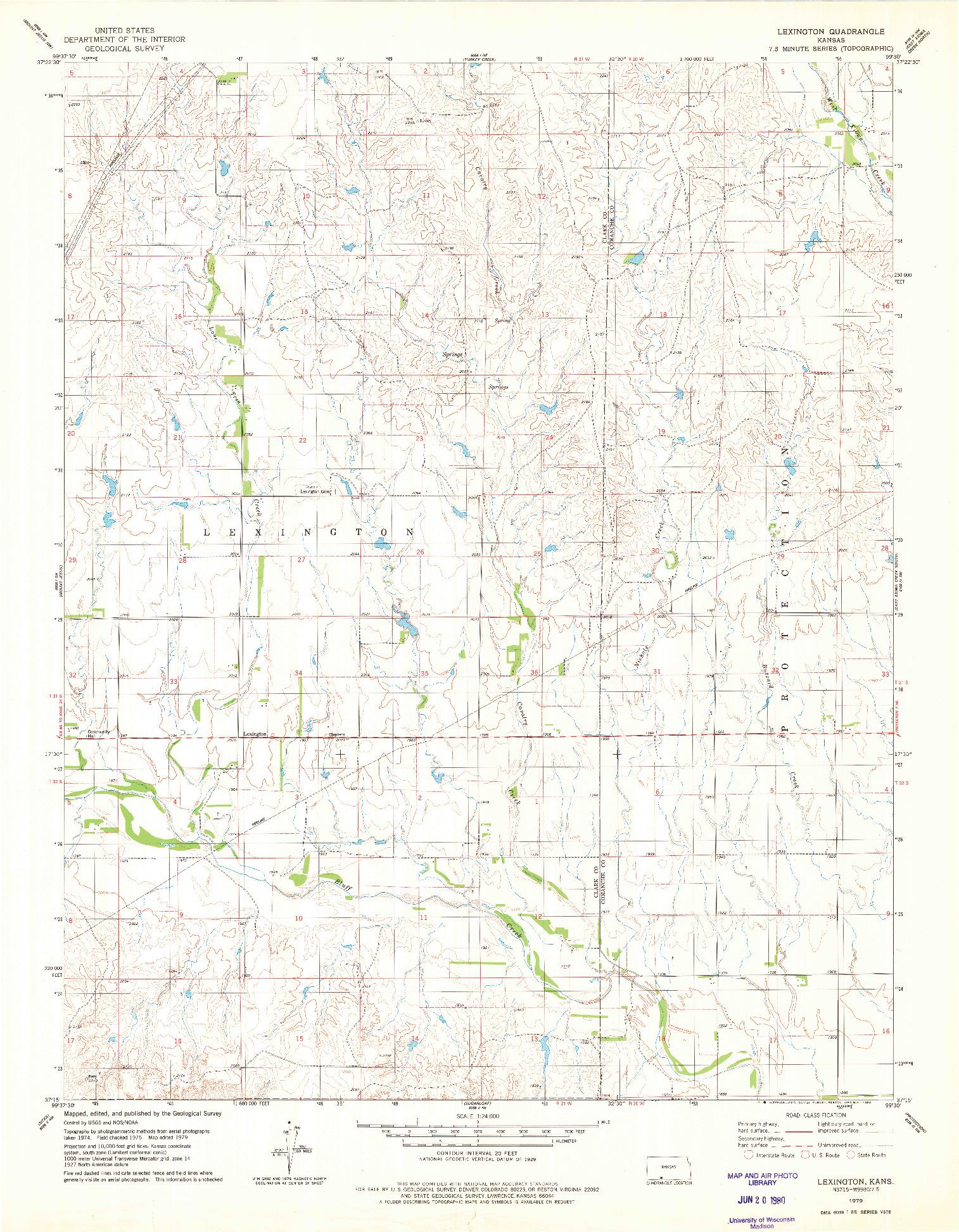 USGS 1:24000-SCALE QUADRANGLE FOR LEXINGTON, KS 1979