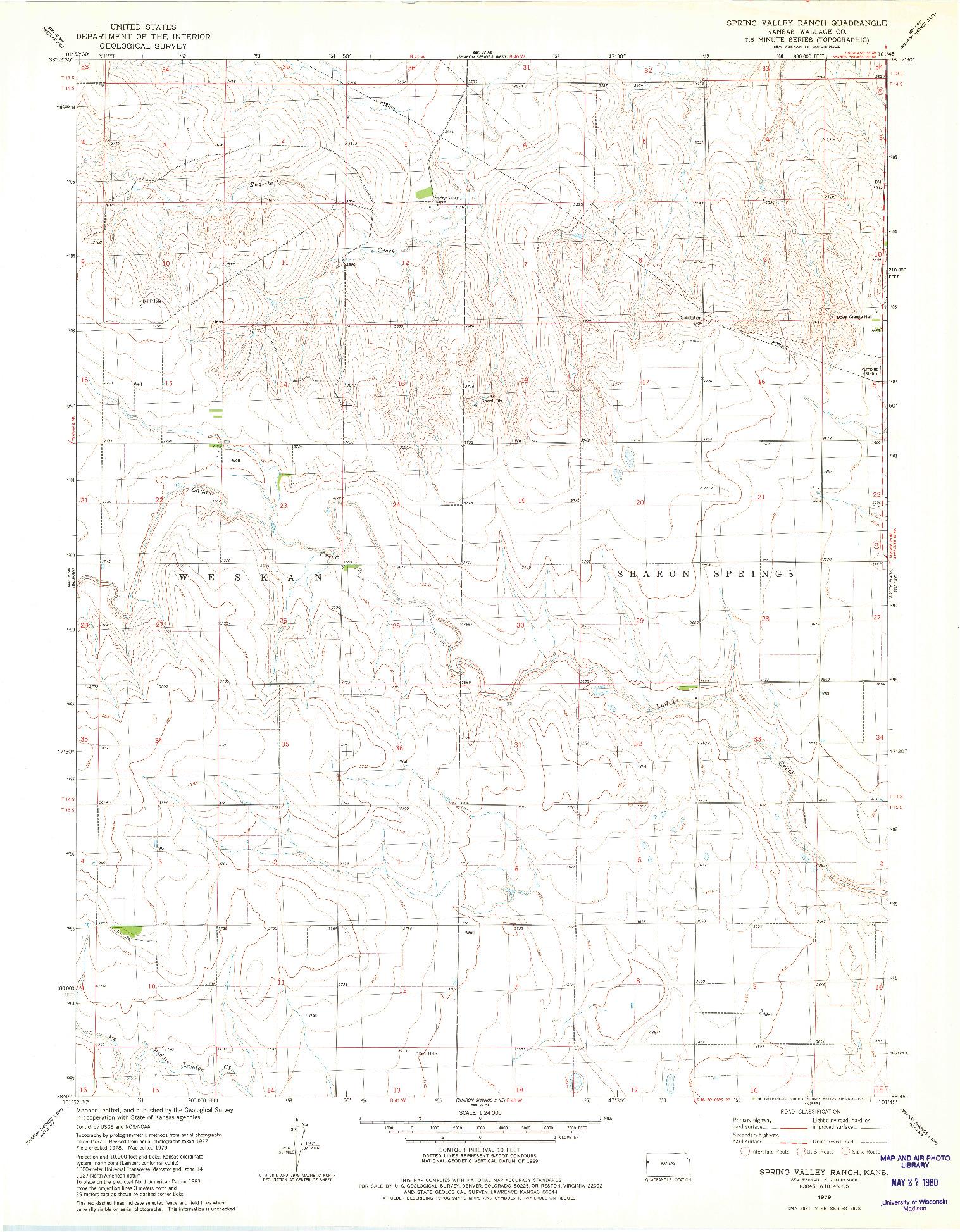 USGS 1:24000-SCALE QUADRANGLE FOR SPRING VALLEY RANCH, KS 1979