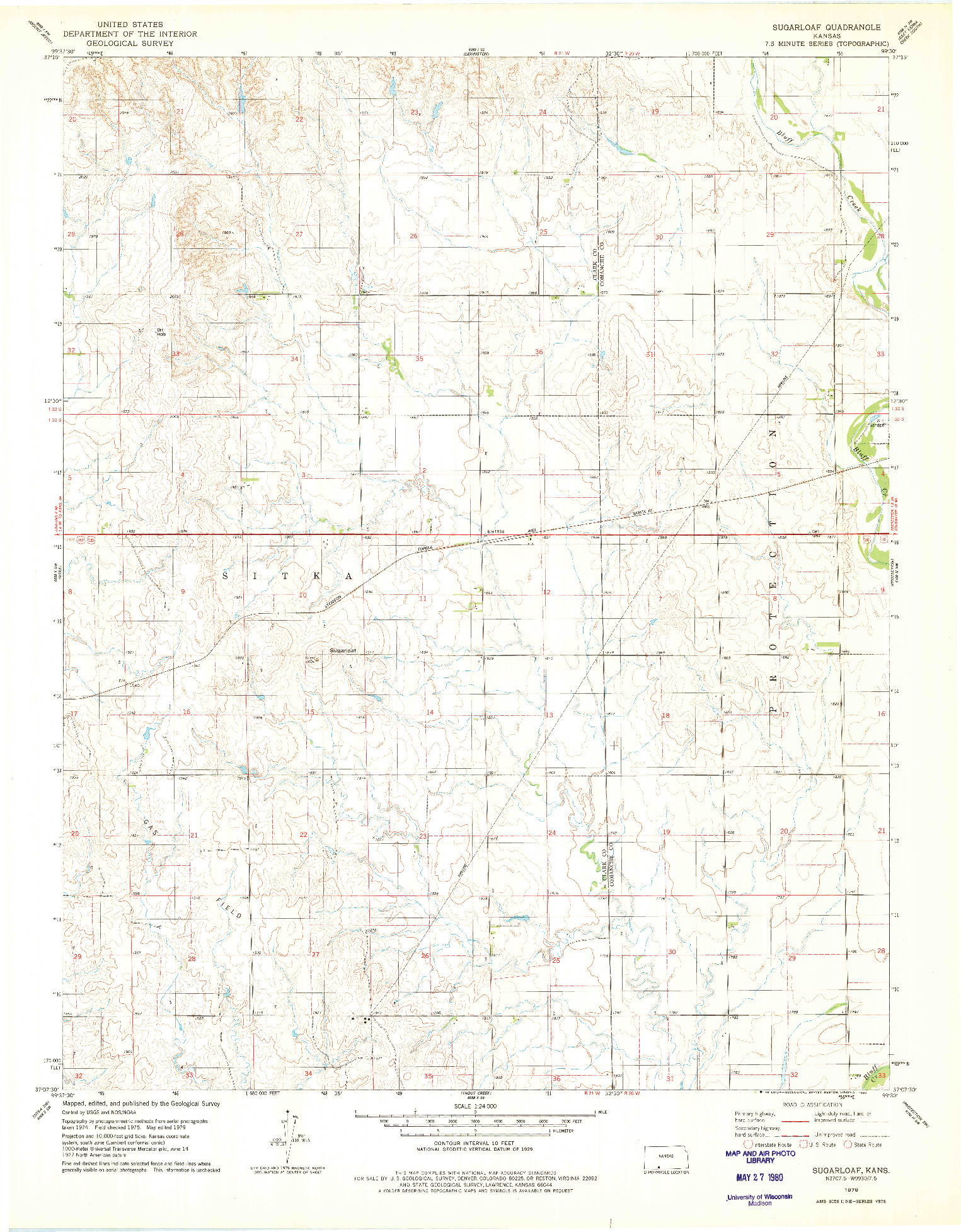 USGS 1:24000-SCALE QUADRANGLE FOR SUGARLOAF, KS 1979