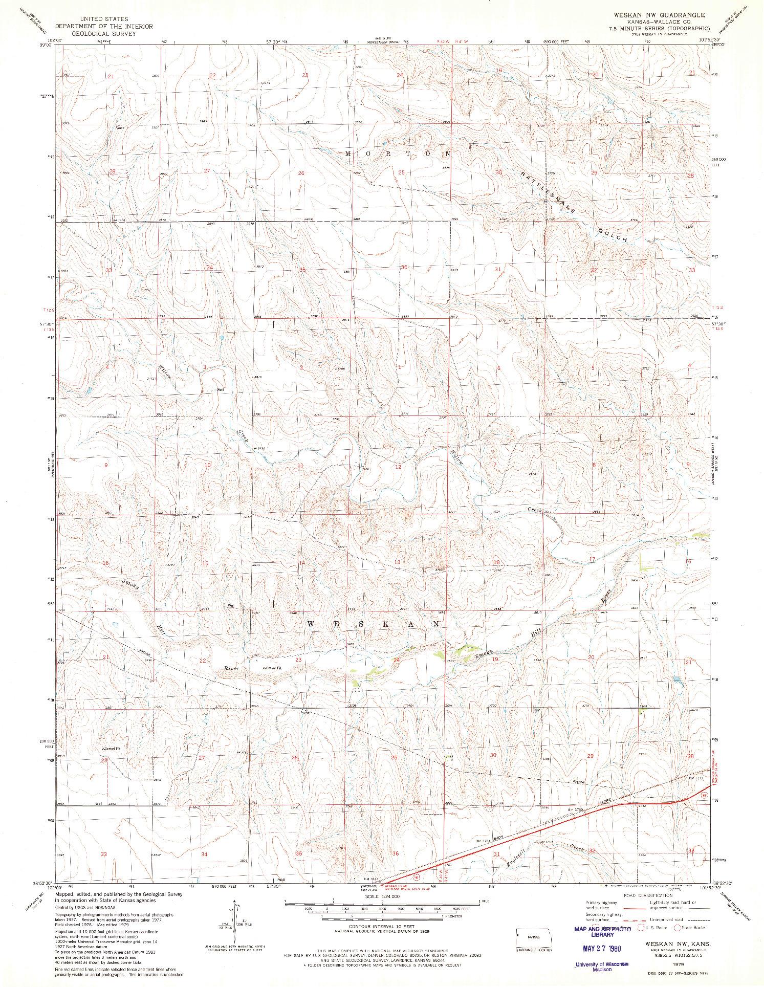 USGS 1:24000-SCALE QUADRANGLE FOR WESKAN NW, KS 1979