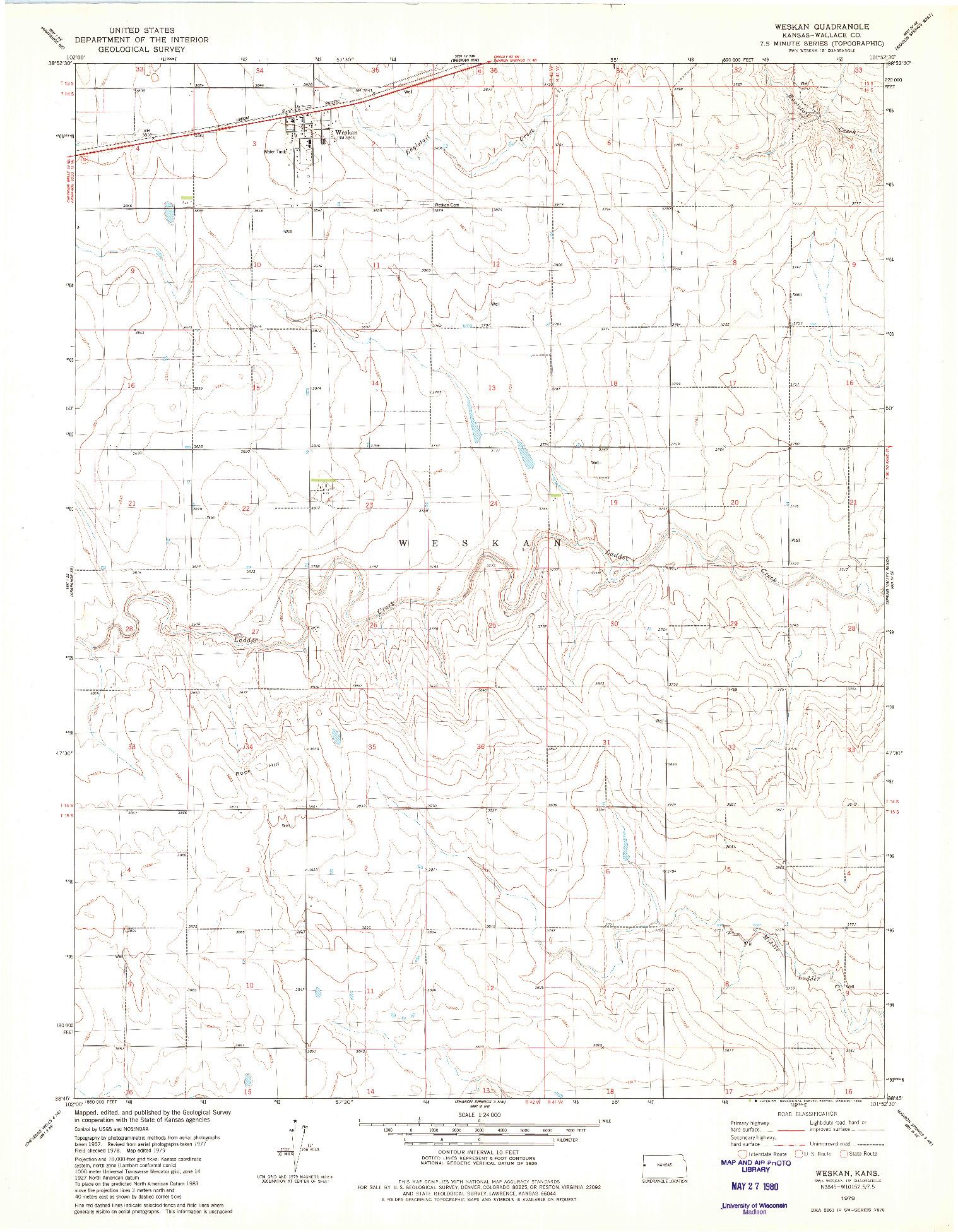 USGS 1:24000-SCALE QUADRANGLE FOR WESKAN, KS 1979