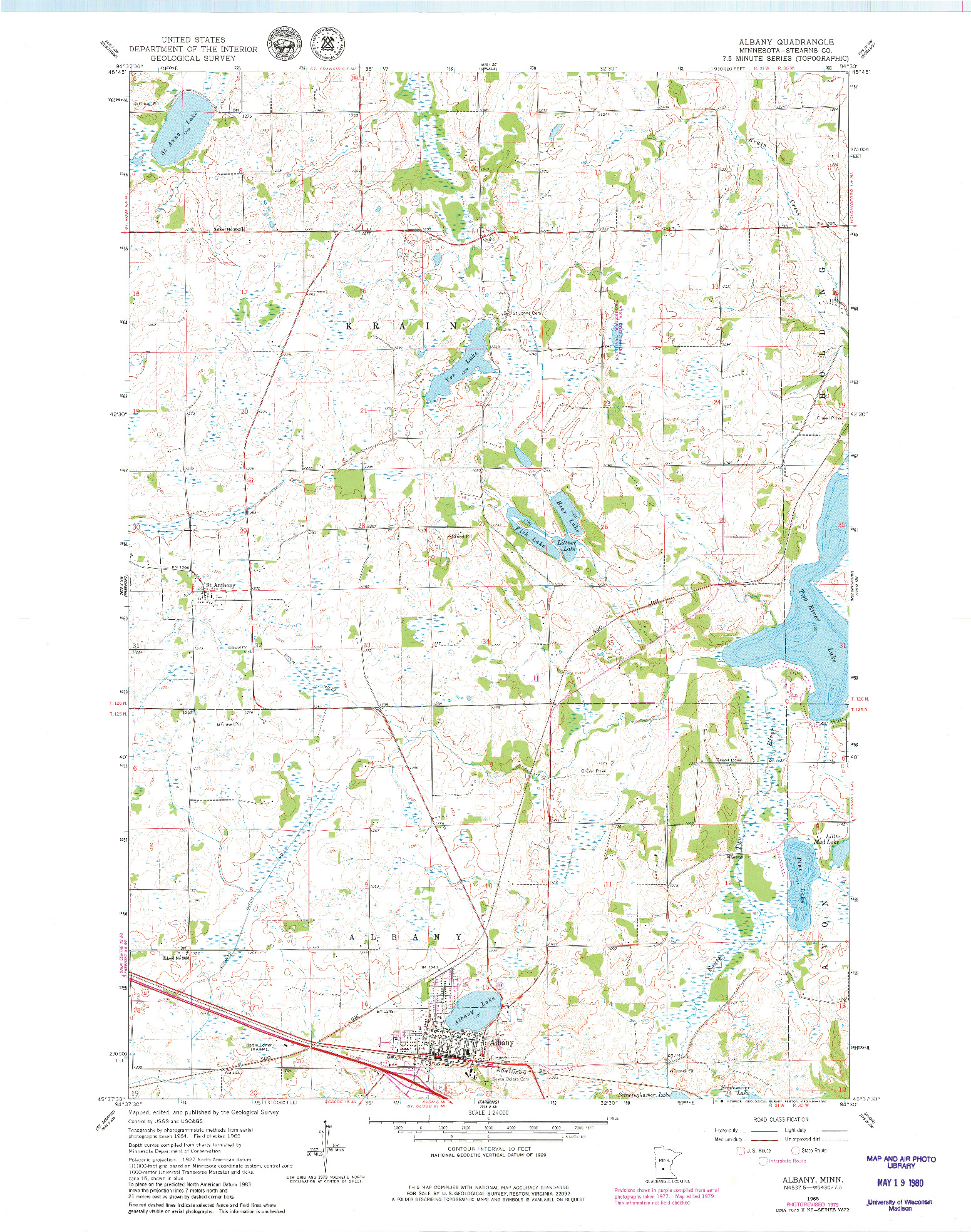 USGS 1:24000-SCALE QUADRANGLE FOR ALBANY, MN 1965