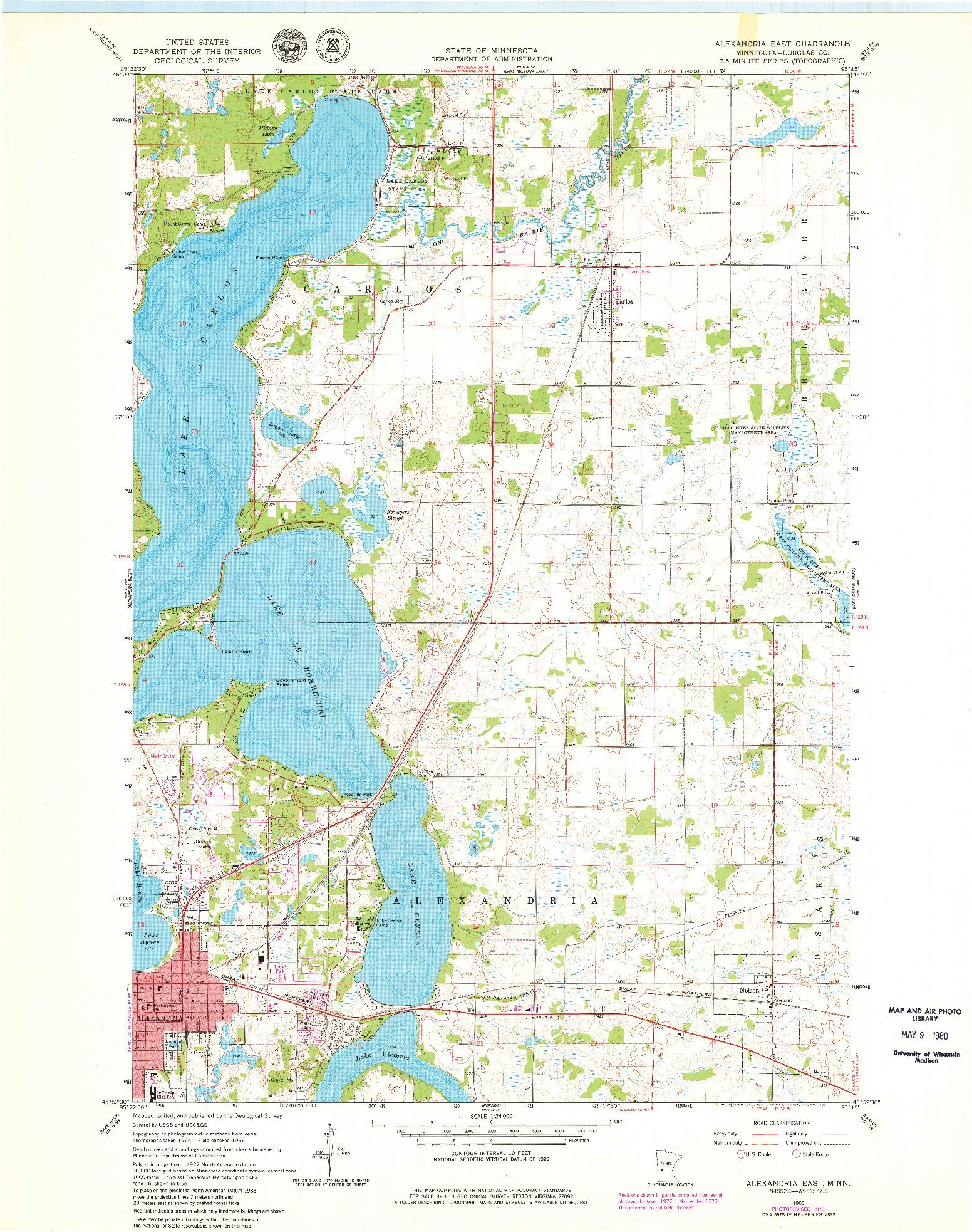 USGS 1:24000-SCALE QUADRANGLE FOR ALEXANDRIA EAST, MN 1966