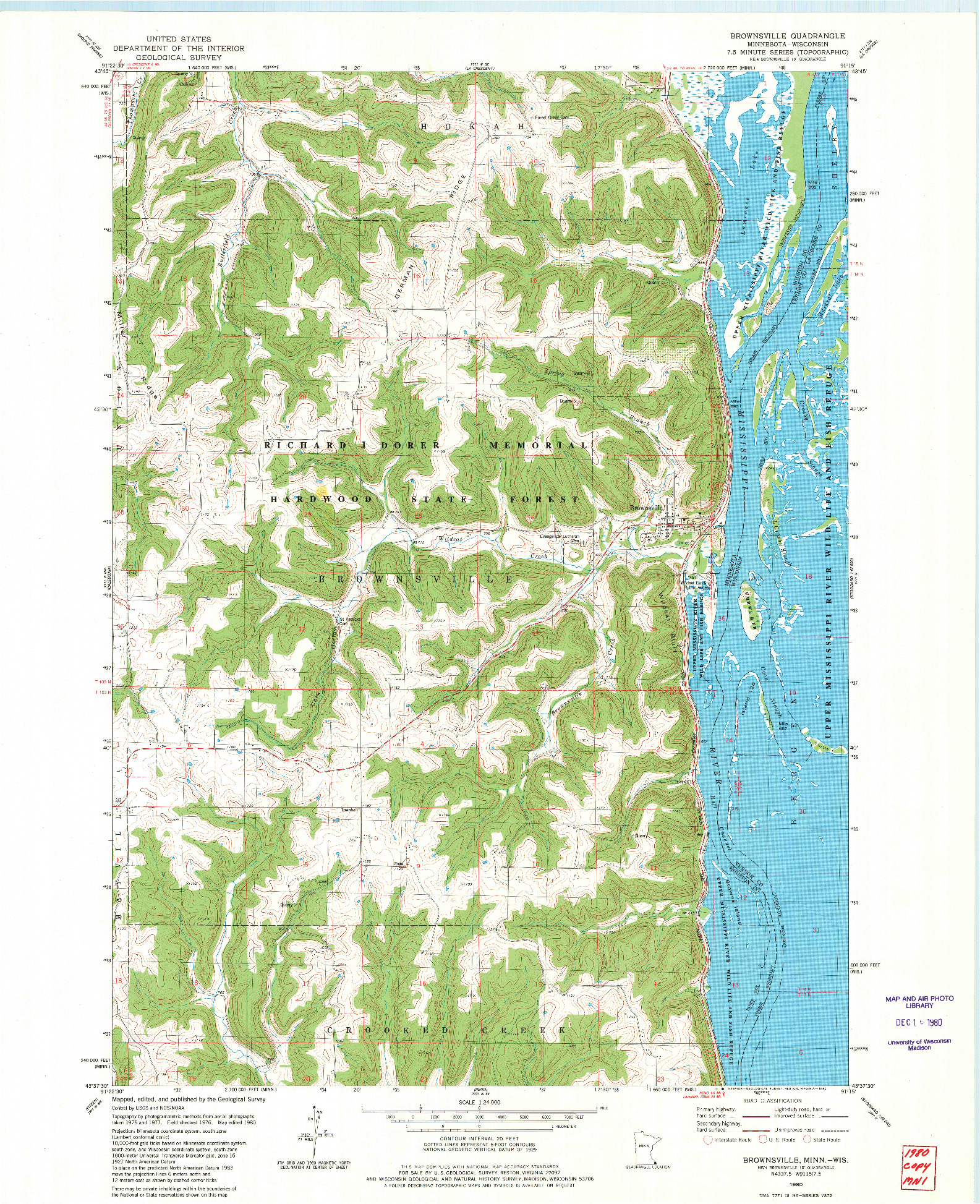 USGS 1:24000-SCALE QUADRANGLE FOR BROWNSVILLE, MN 1980