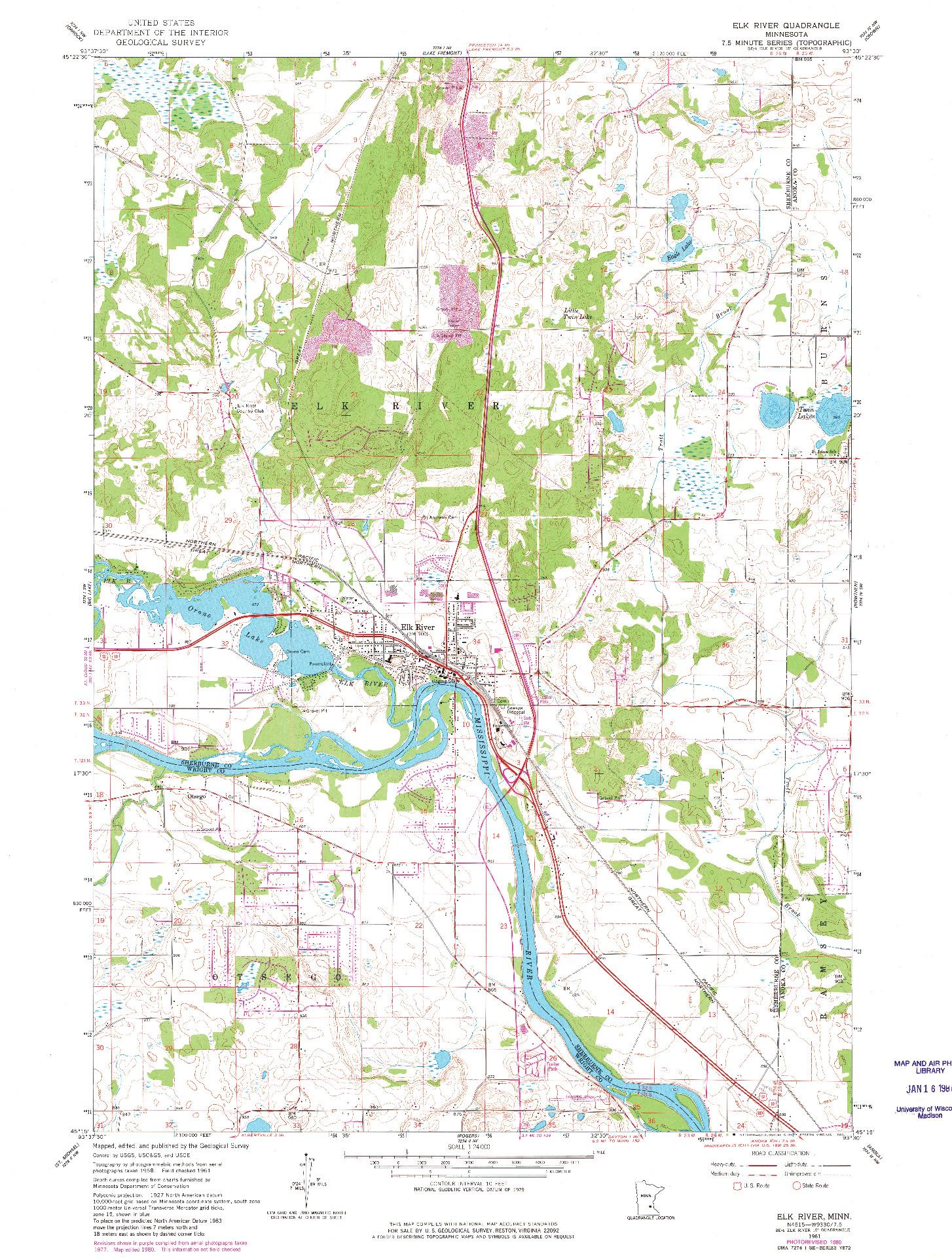 USGS 1:24000-SCALE QUADRANGLE FOR ELK RIVER, MN 1961