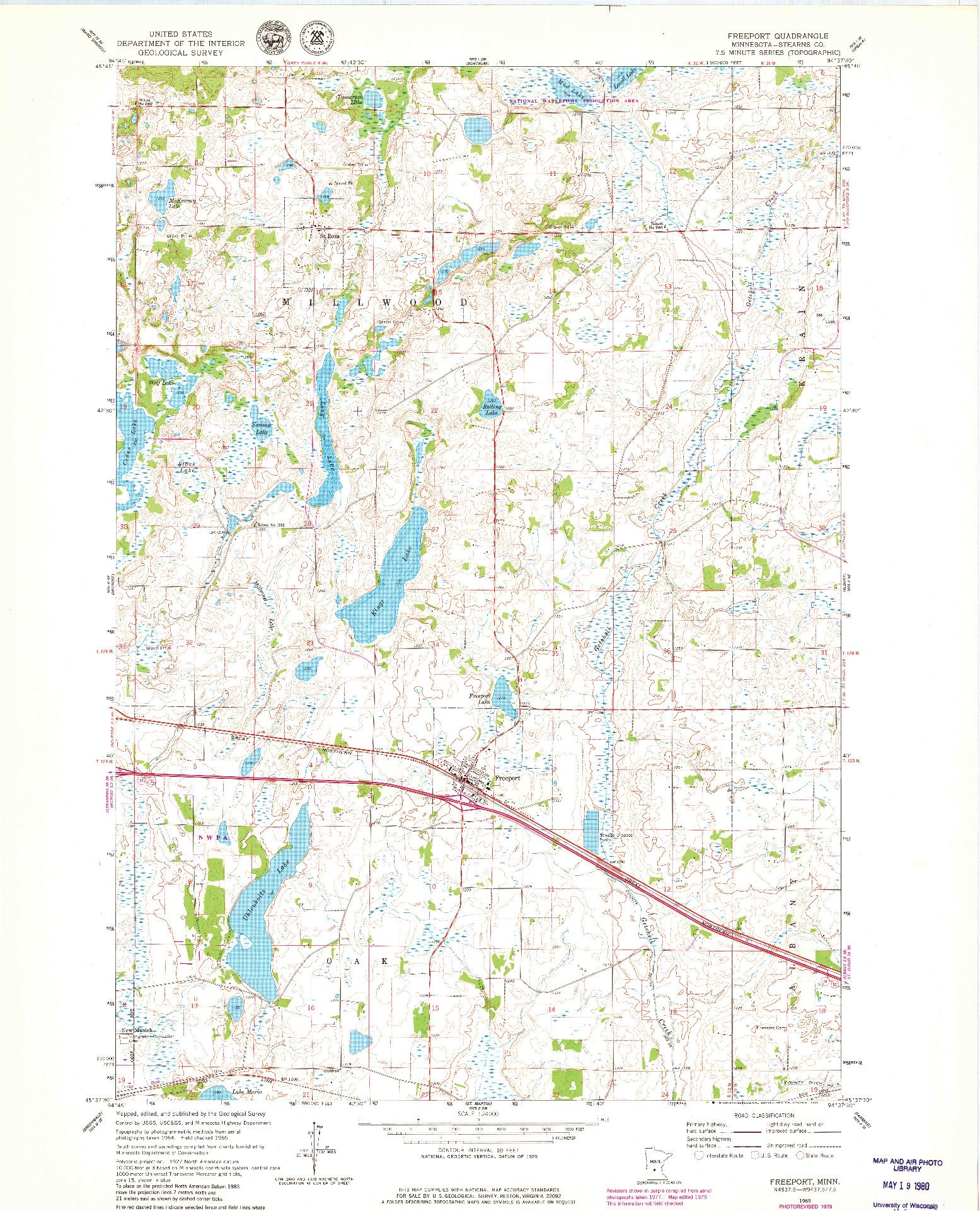 USGS 1:24000-SCALE QUADRANGLE FOR FREEPORT, MN 1965