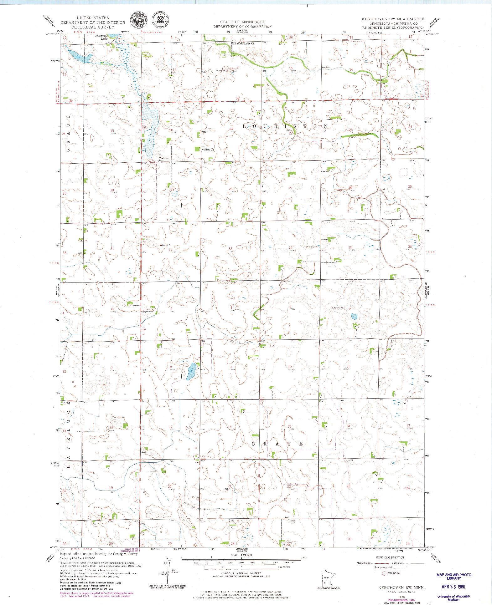 USGS 1:24000-SCALE QUADRANGLE FOR KERKHOVEN SW, MN 1958