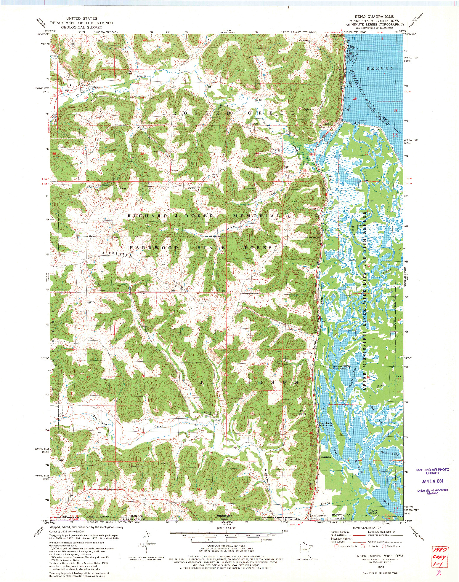 USGS 1:24000-SCALE QUADRANGLE FOR RENO, MN 1980