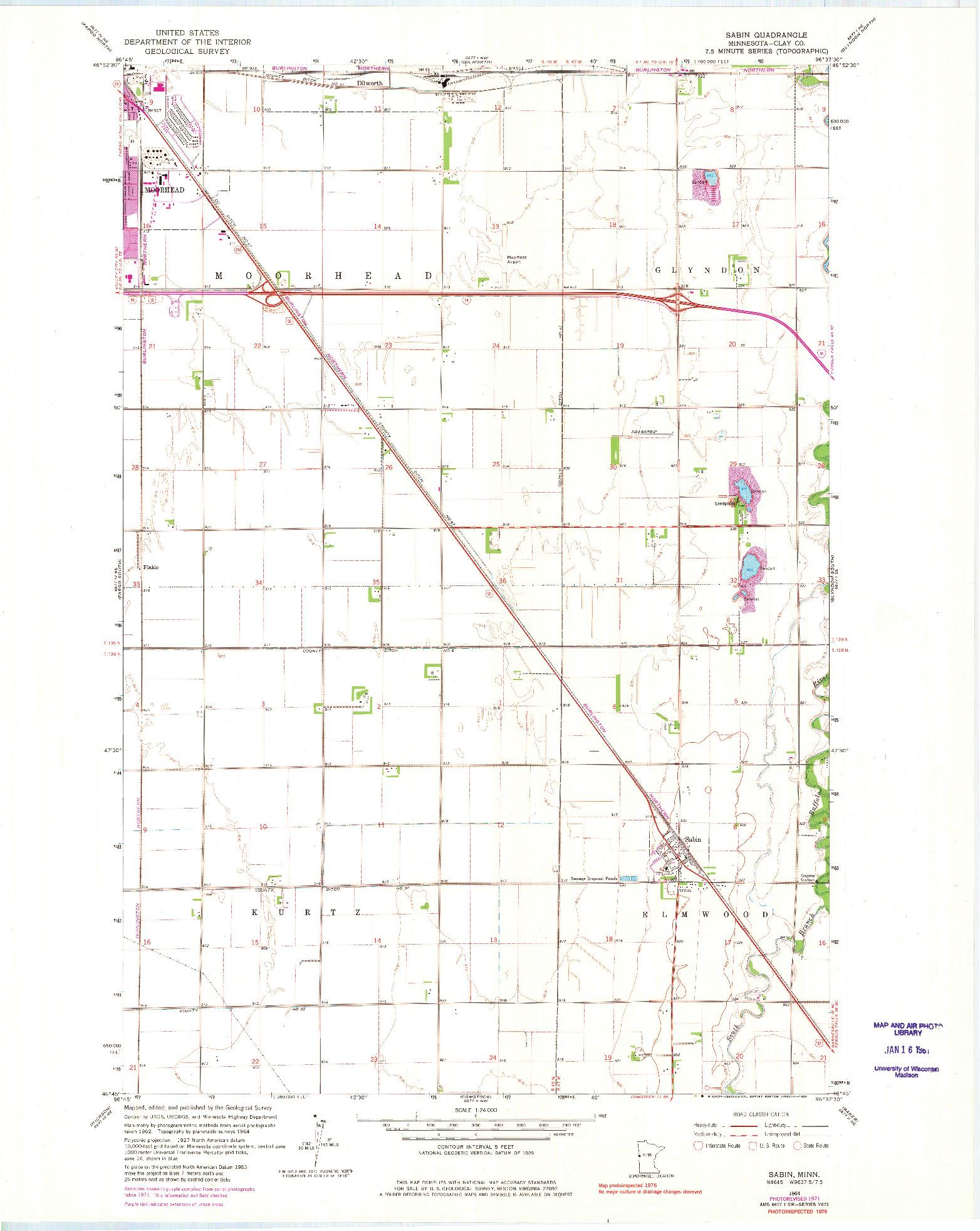 USGS 1:24000-SCALE QUADRANGLE FOR SABIN, MN 1964