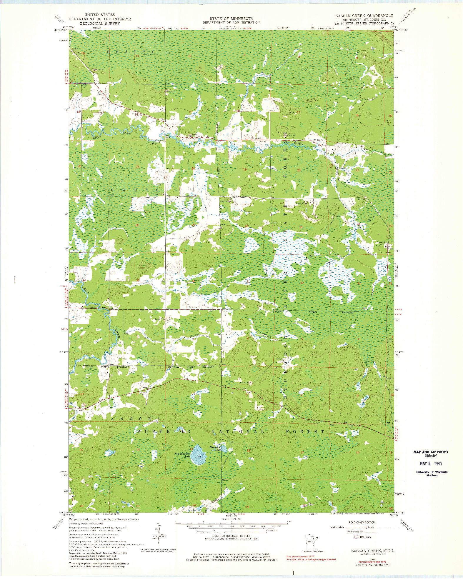 USGS 1:24000-SCALE QUADRANGLE FOR SASSAS CREEK, MN 1964