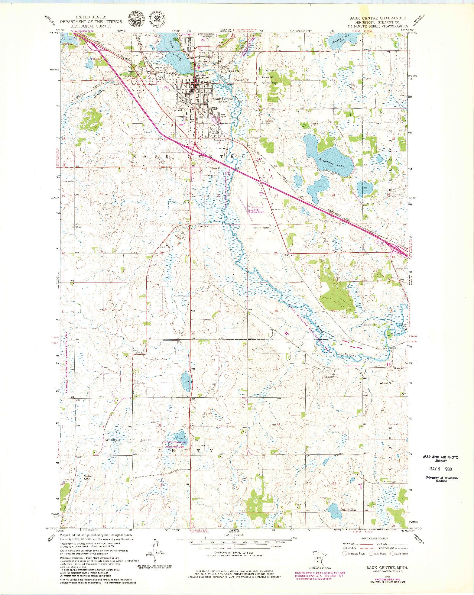 USGS 1:24000-SCALE QUADRANGLE FOR SAUK CENTRE, MN 1965