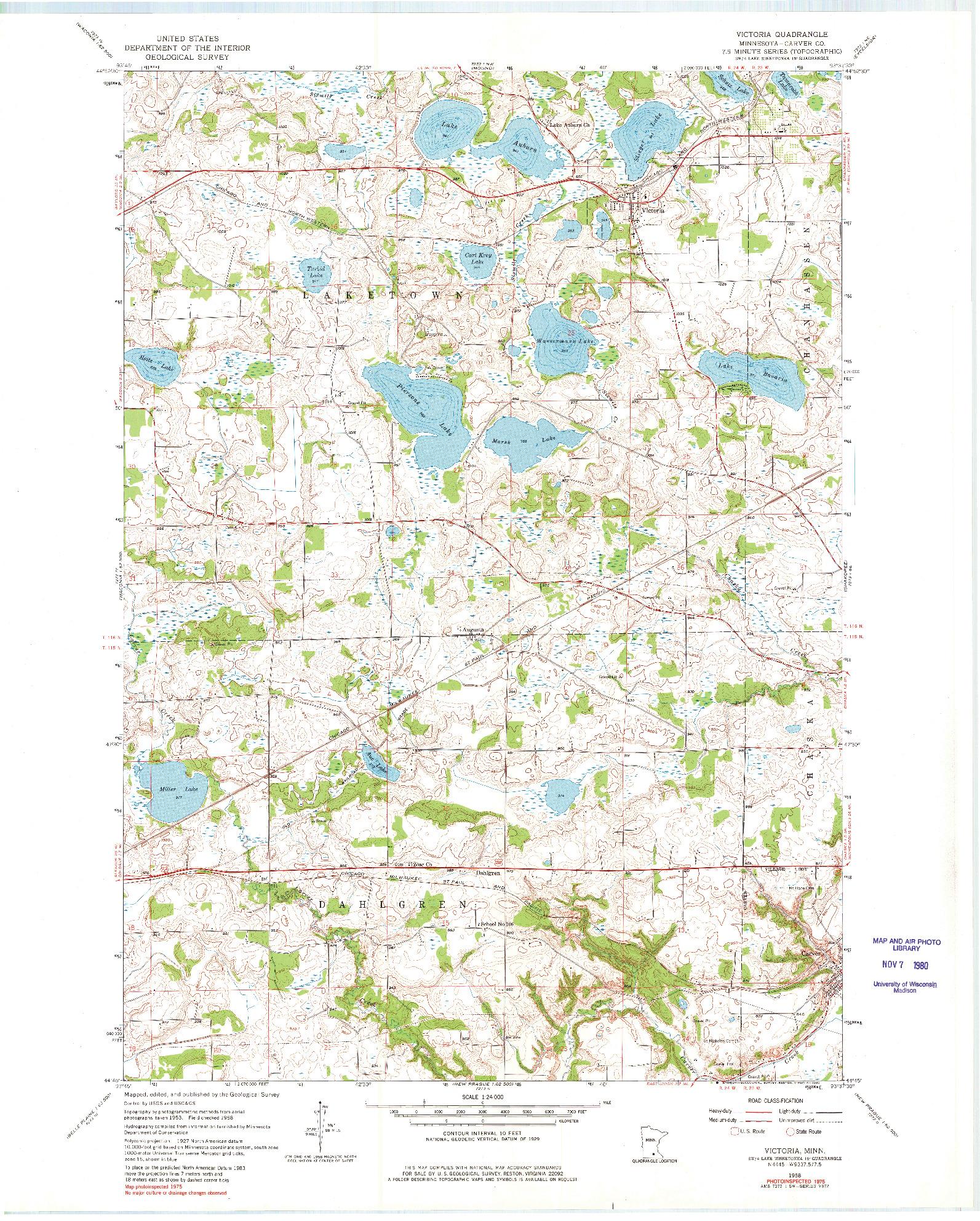 USGS 1:24000-SCALE QUADRANGLE FOR VICTORIA, MN 1958
