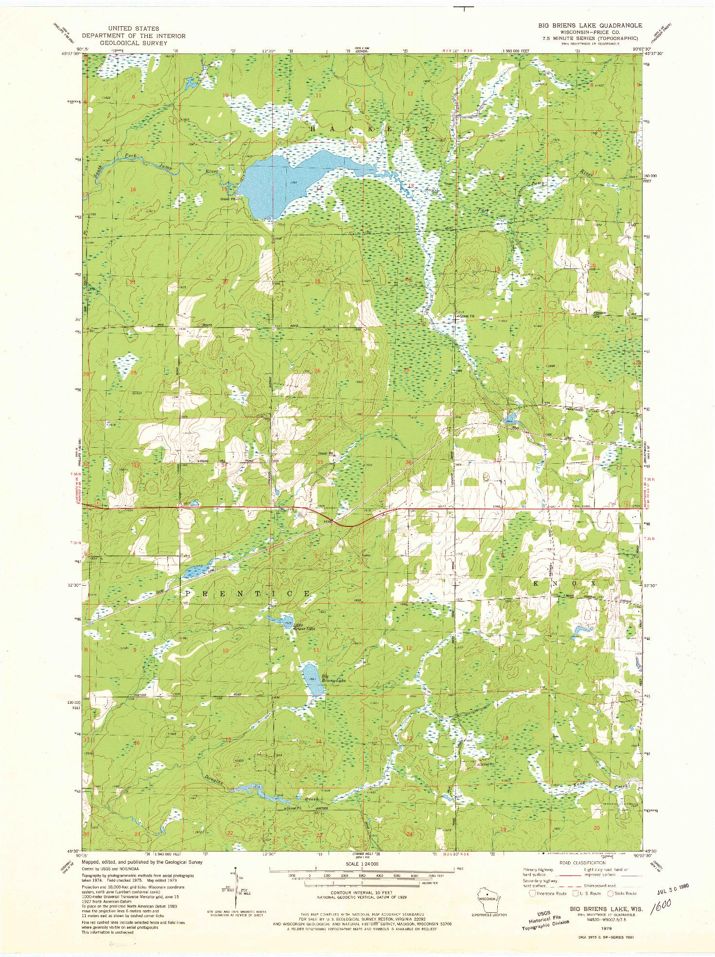USGS 1:24000-SCALE QUADRANGLE FOR BIG BRIENS LAKE, WI 1979