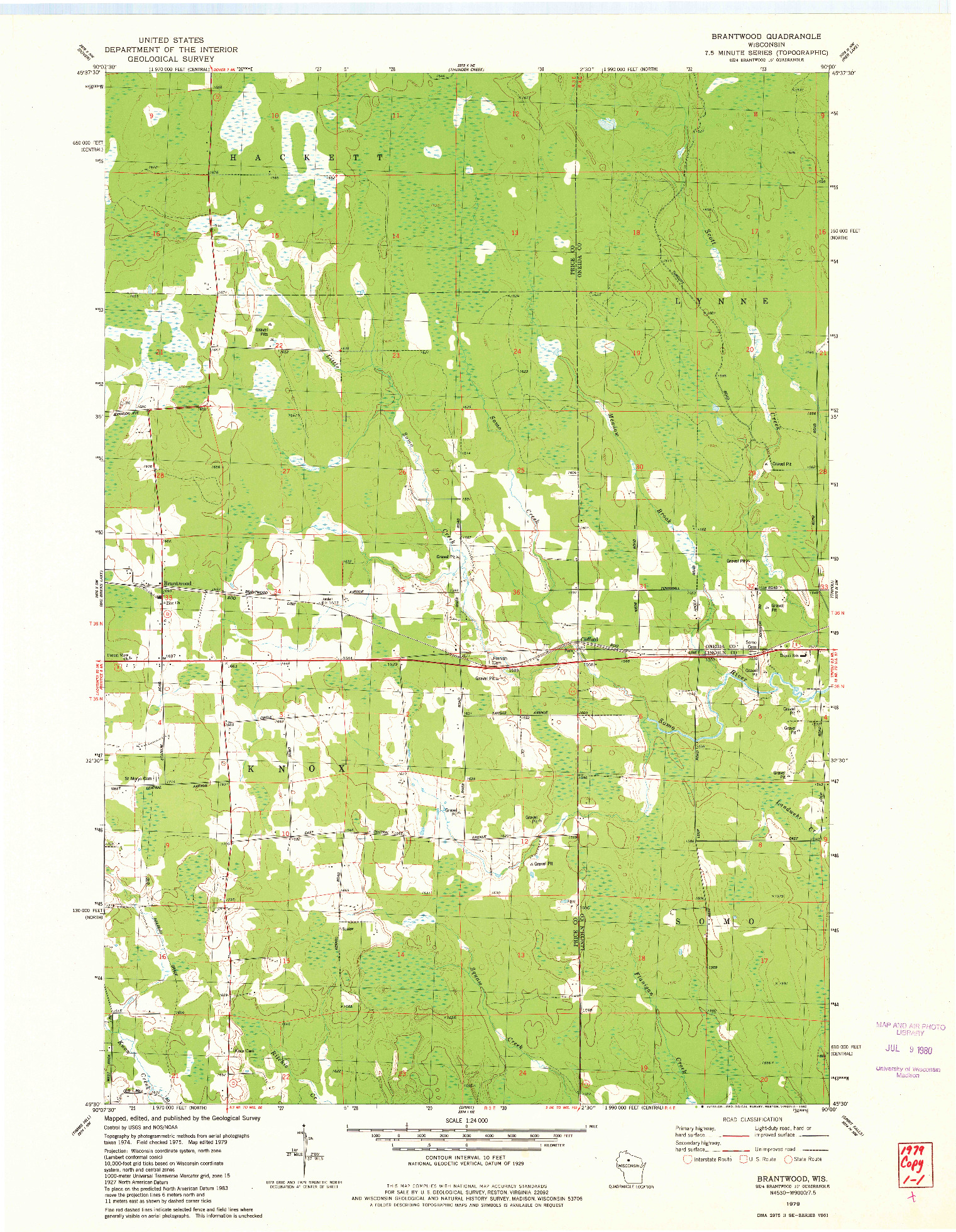 USGS 1:24000-SCALE QUADRANGLE FOR BRANTWOOD, WI 1979