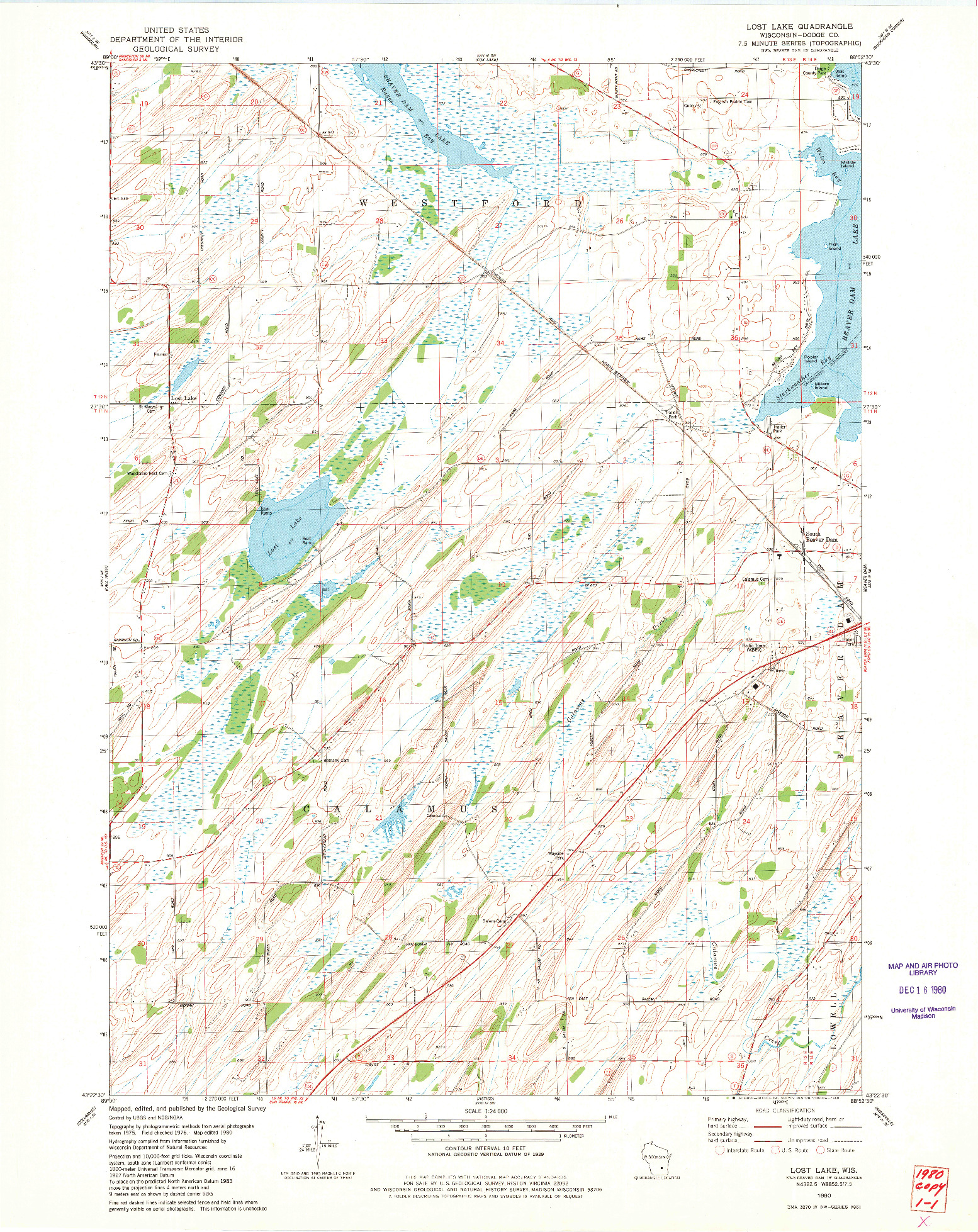 USGS 1:24000-SCALE QUADRANGLE FOR LOST LAKE, WI 1980