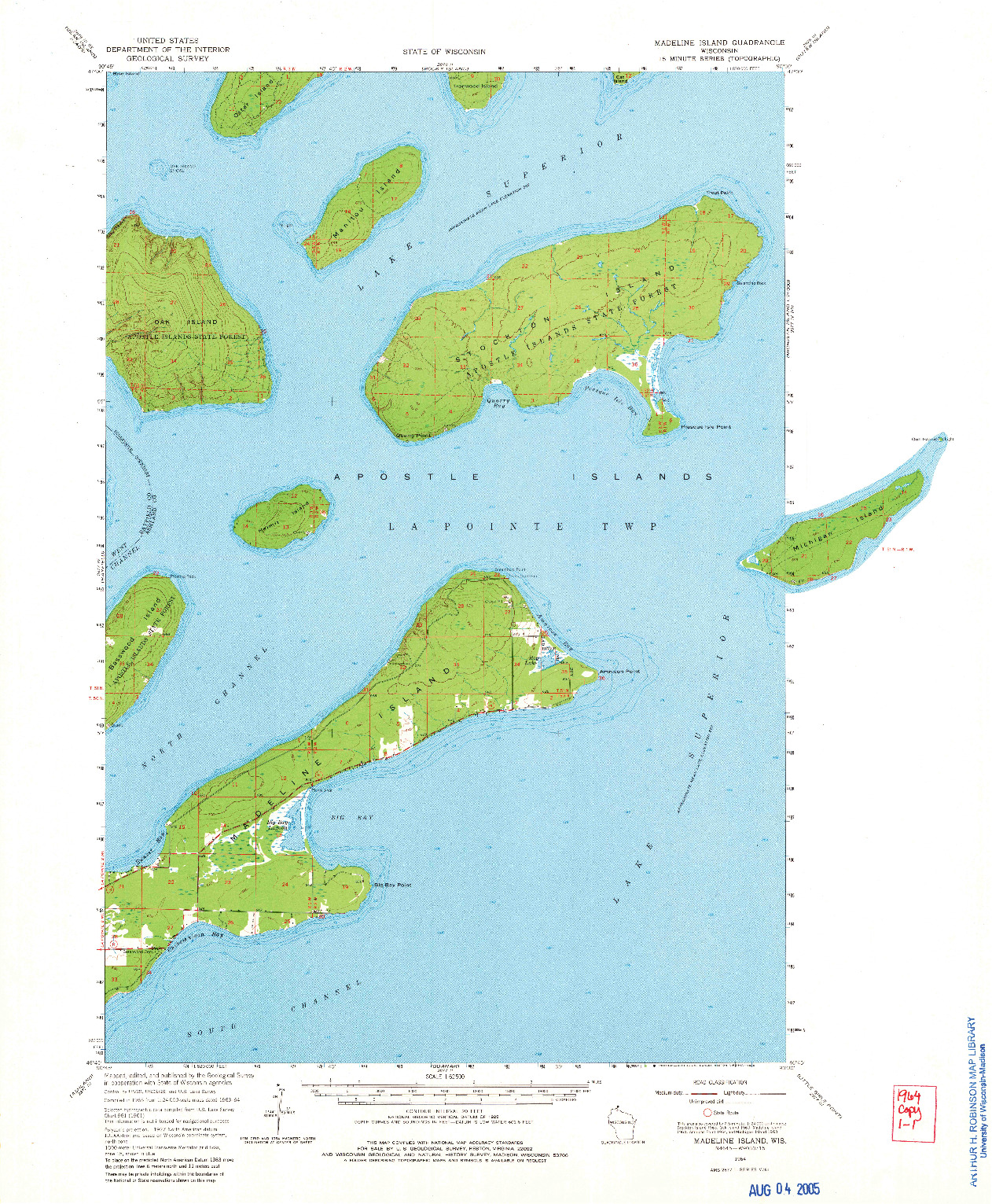 USGS 1:62500-SCALE QUADRANGLE FOR MADELINE ISLAND, WI 1964